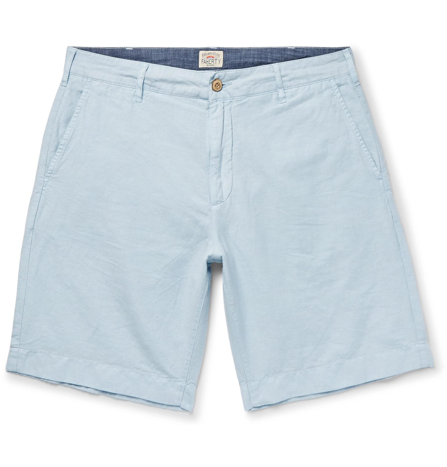 Faherty Malibu Linen And Cotton-blend Shorts - Light blue