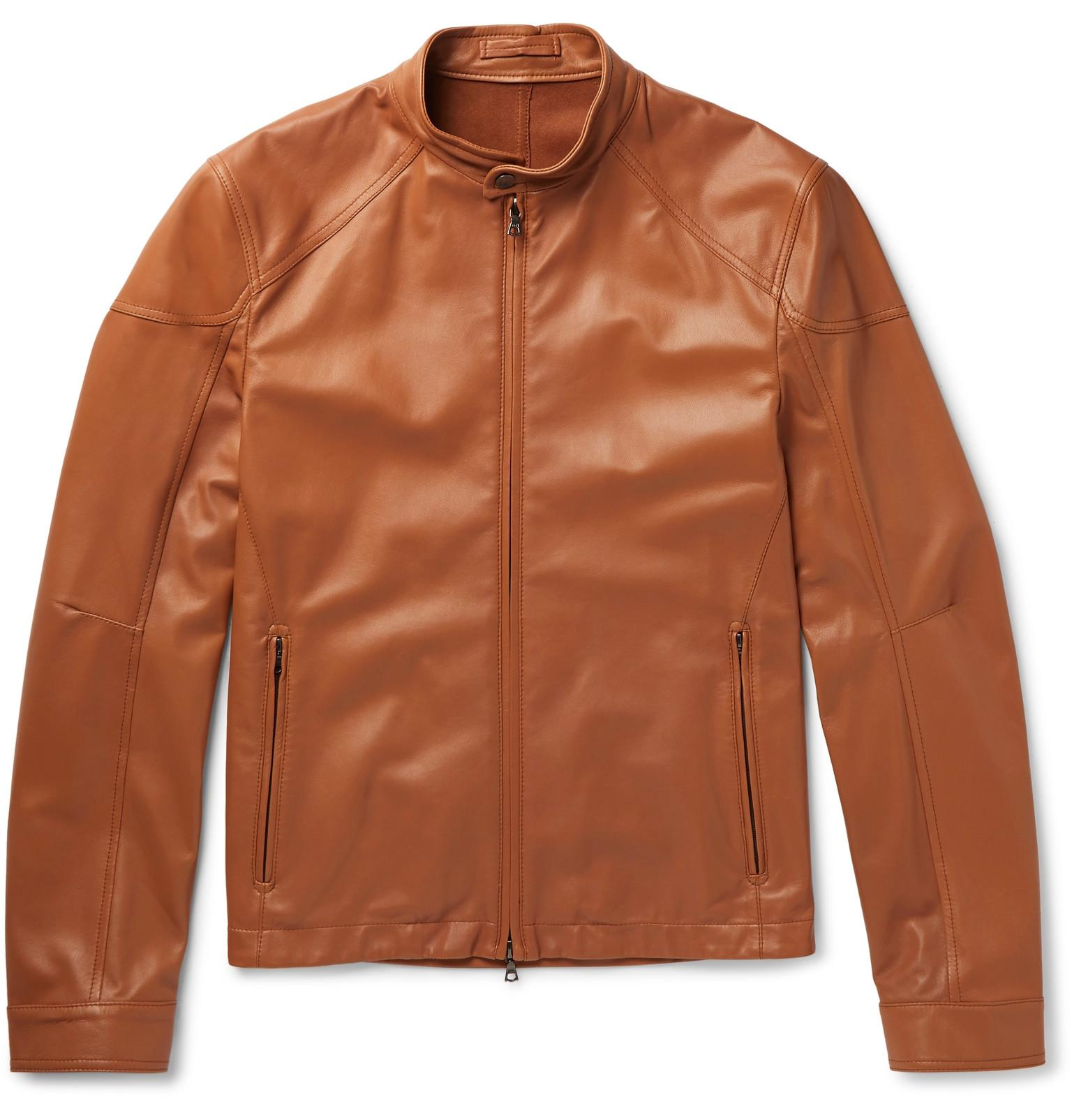 073b5fe6073 CONNOLLY Slim-fit Leather Racing Jacket in Brown for Men - Lyst