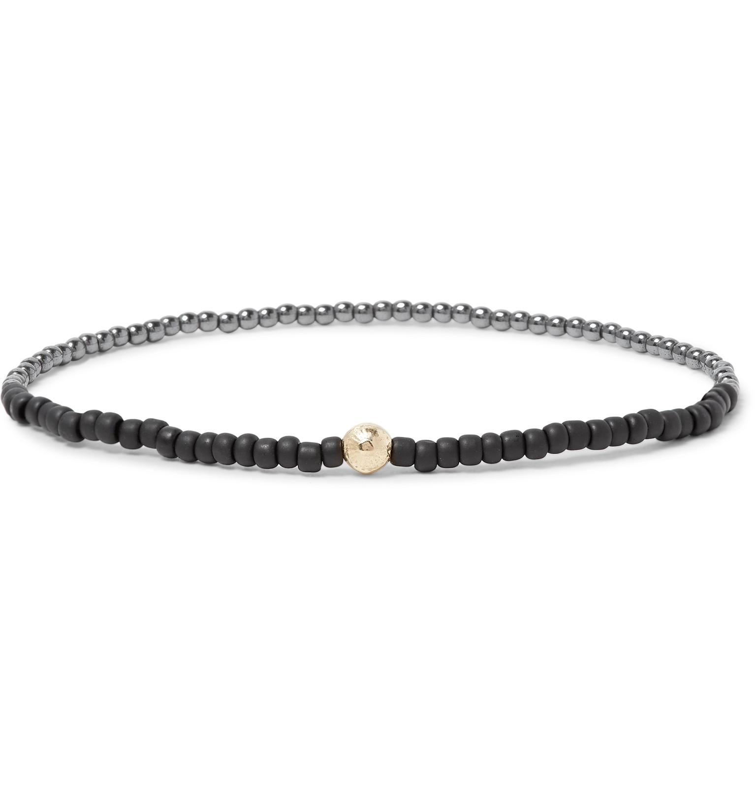 Luis Morais Beaded Wood, 14-karat Gold And Diamond Bracelet - Black