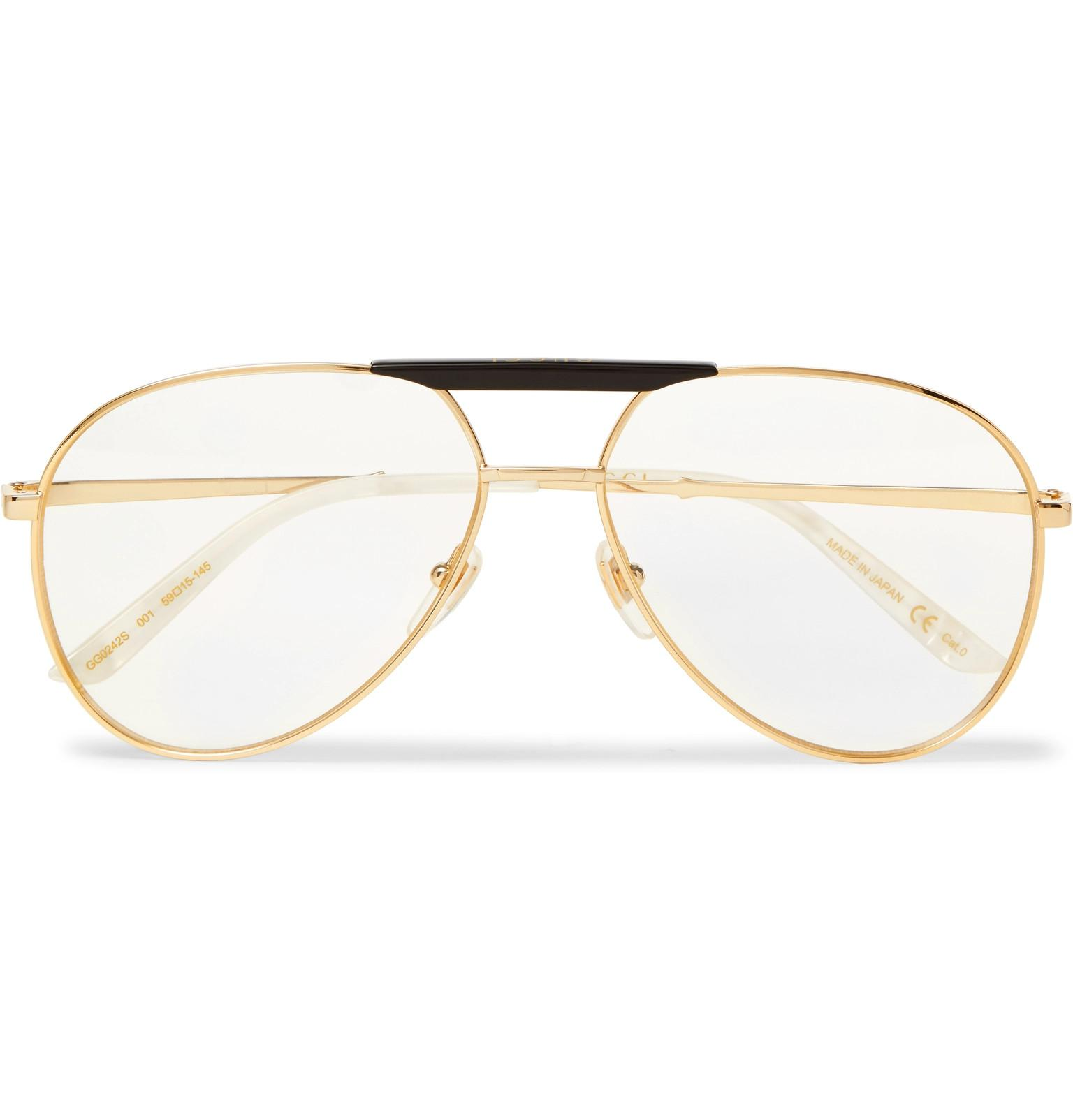 27de78acab3 Gucci Endura Aviator-style Acetate And Gold-tone Optical Glasses in ...