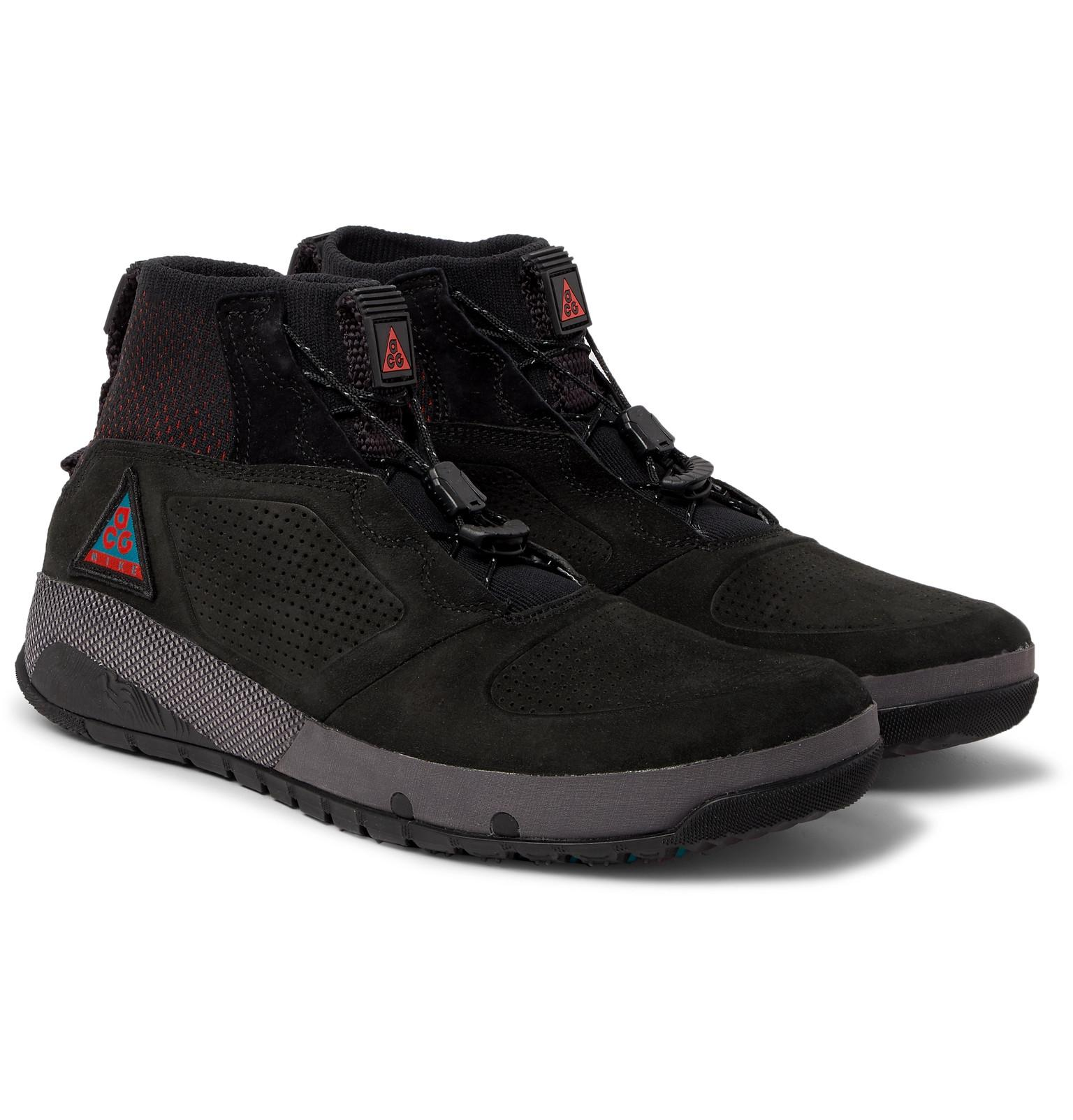 fd5da4ae86c2 Lyst - Nike Acg Ruckel Ridge Perforated Suede And Flyknit Sneakers ...