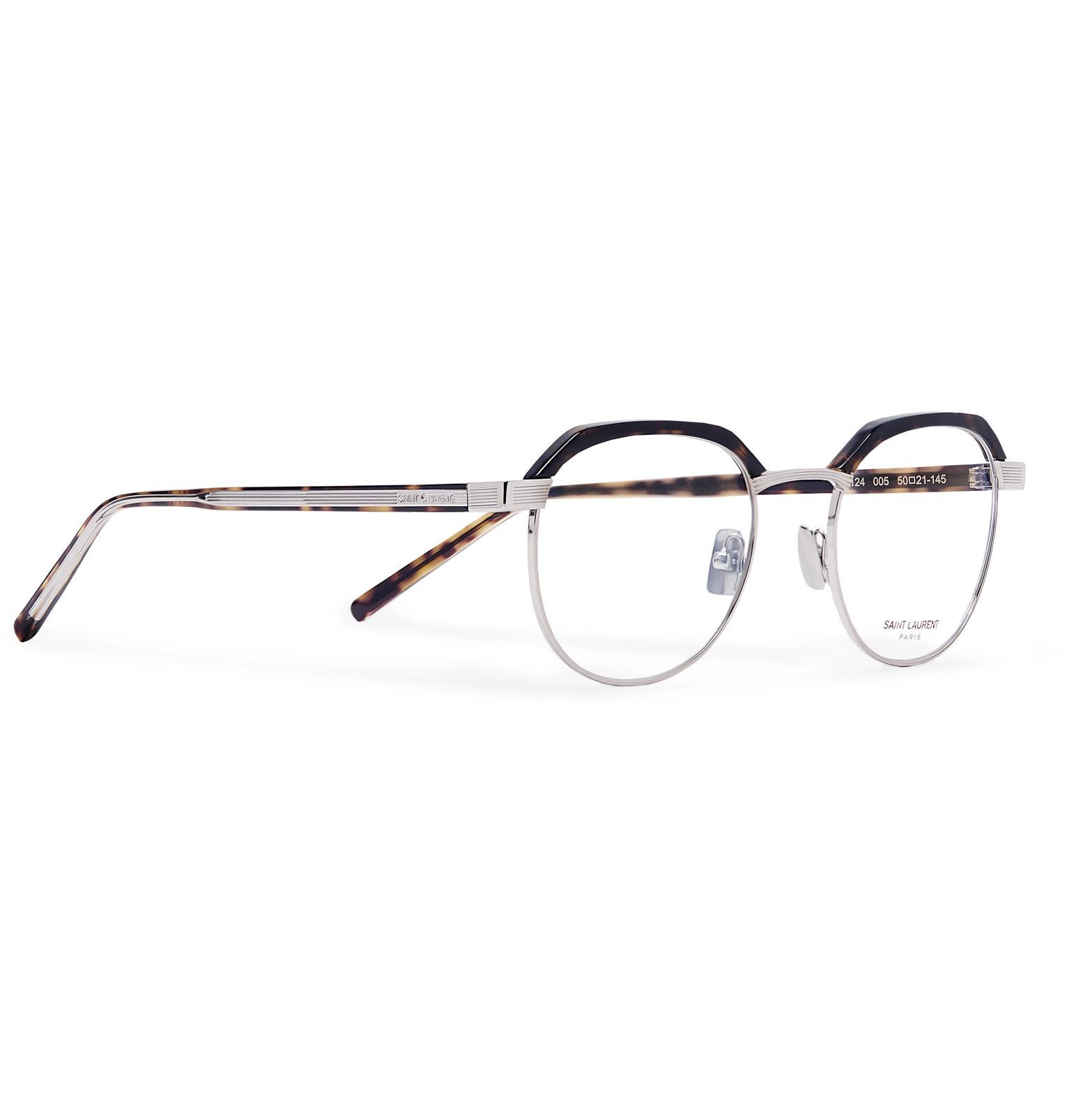 e707b407b3 Saint Laurent - Metallic Round-frame Tortoiseshell Acetate And Silver-tone  Optical Glasses for. View fullscreen