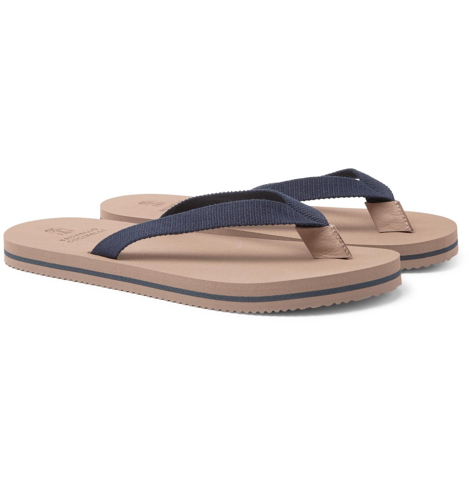 Brunello Cucinelli Cotton-Canvas Flip Flops free shipping official marketable 08fYpa