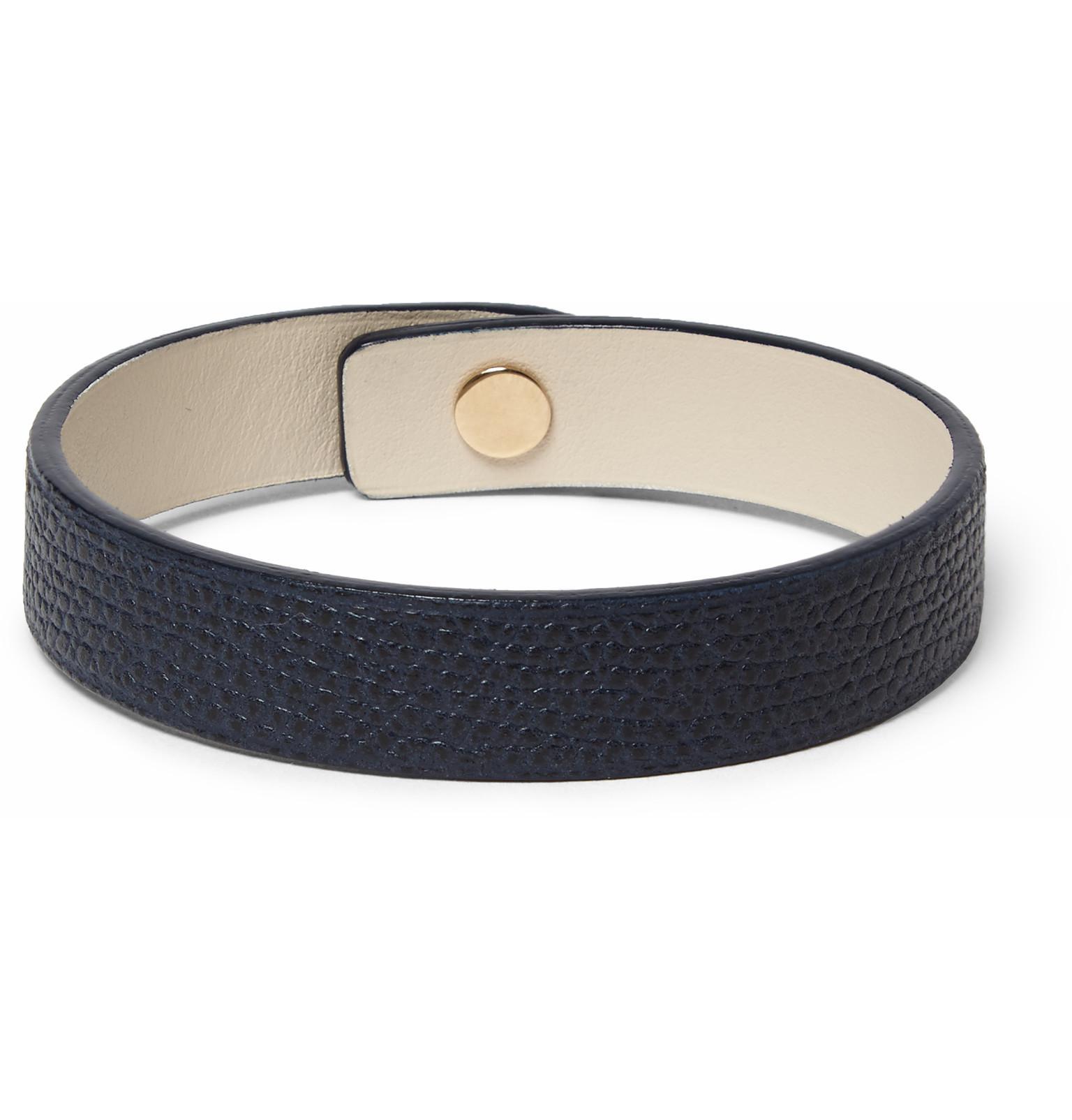 Valextra Pebble-grain Leather Wrap Bracelet - Navy rG5q8R