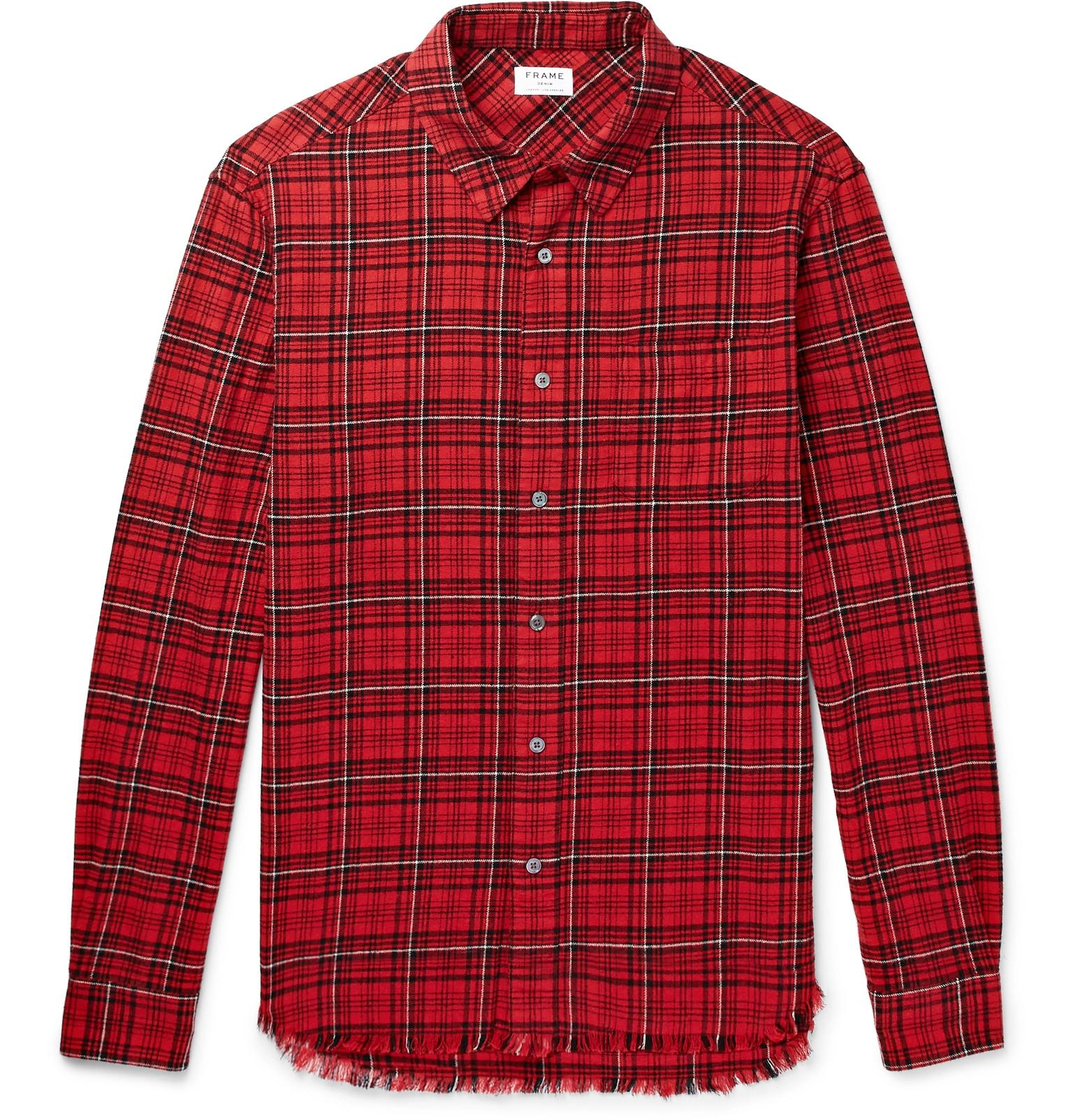 Frame Checked Cotton-flannel Shirt - Red