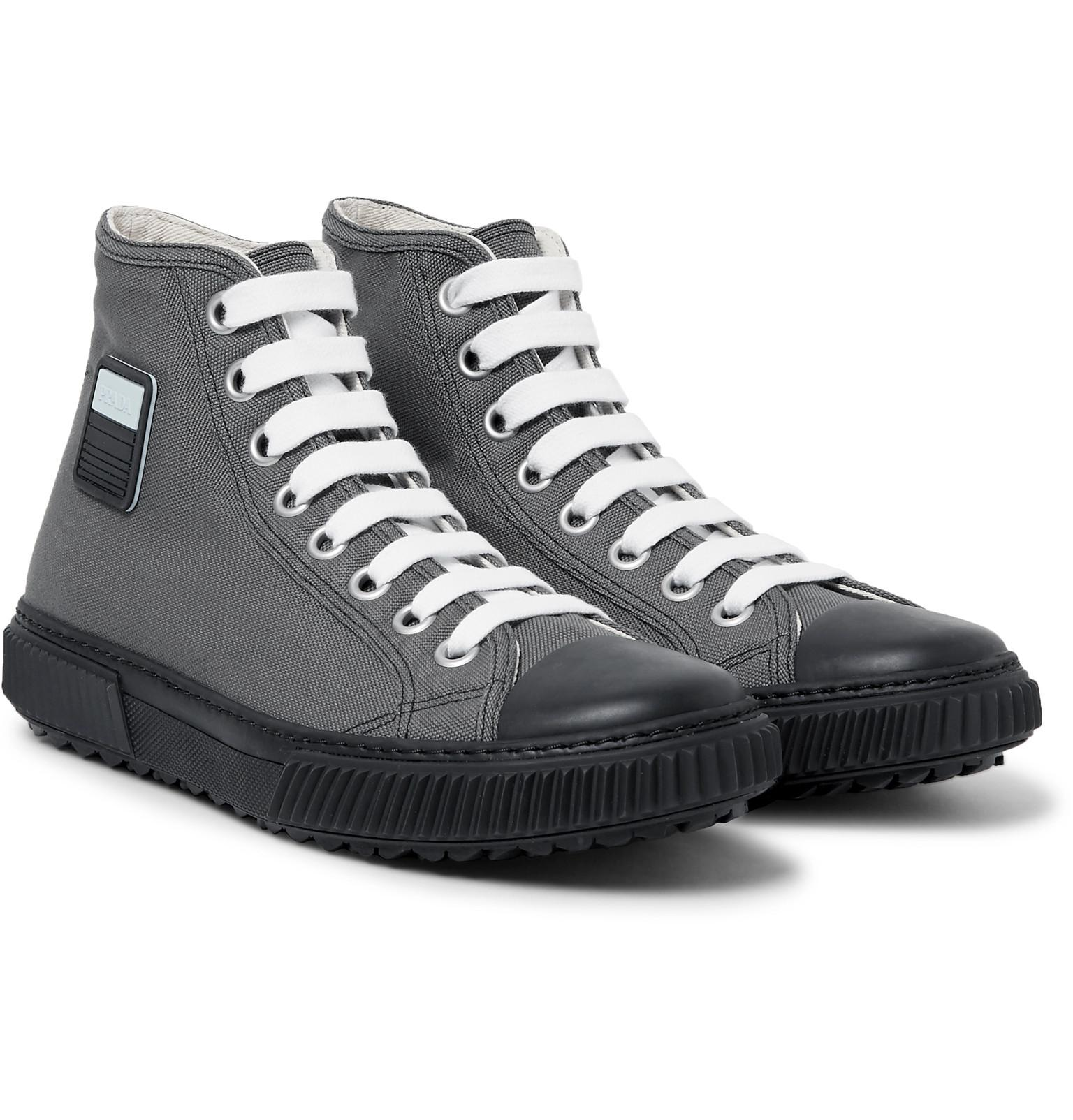 94a34c9a9e86 ... czech lyst prada stratos canvas high top sneakers in gray for men 033d0  56dd2