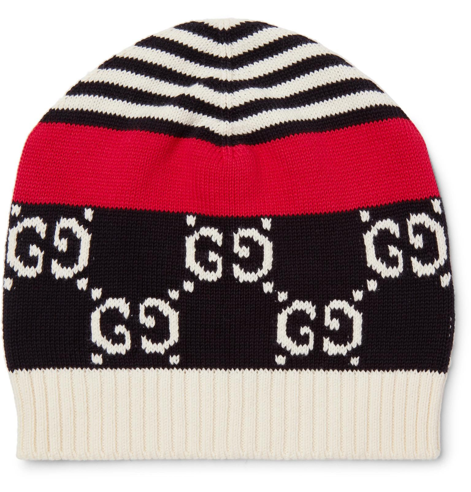 816bec9bbbe Gucci Logo-intarsia Cotton Beanie in Blue for Men - Lyst