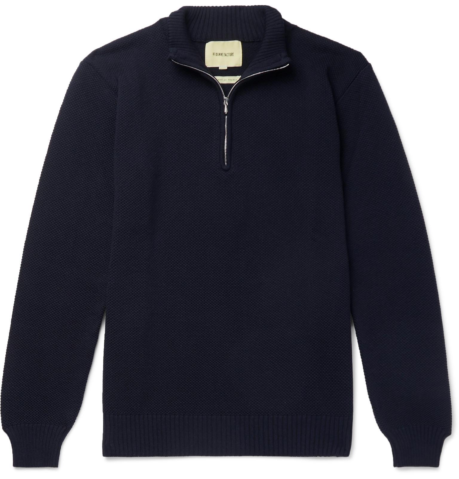 ca6365c55 de-bonne-facture-navy-Wool-pique-Half-zip-Sweater.jpeg