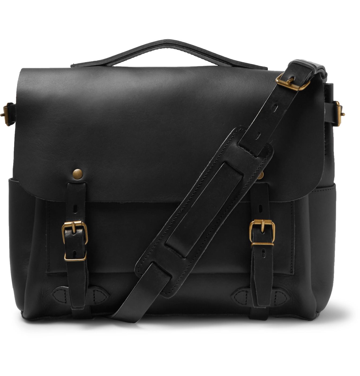 Lyst - Bleu De Chauffe Éclair Leather Messenger Bag in Black for Men c3f1c6074e03f