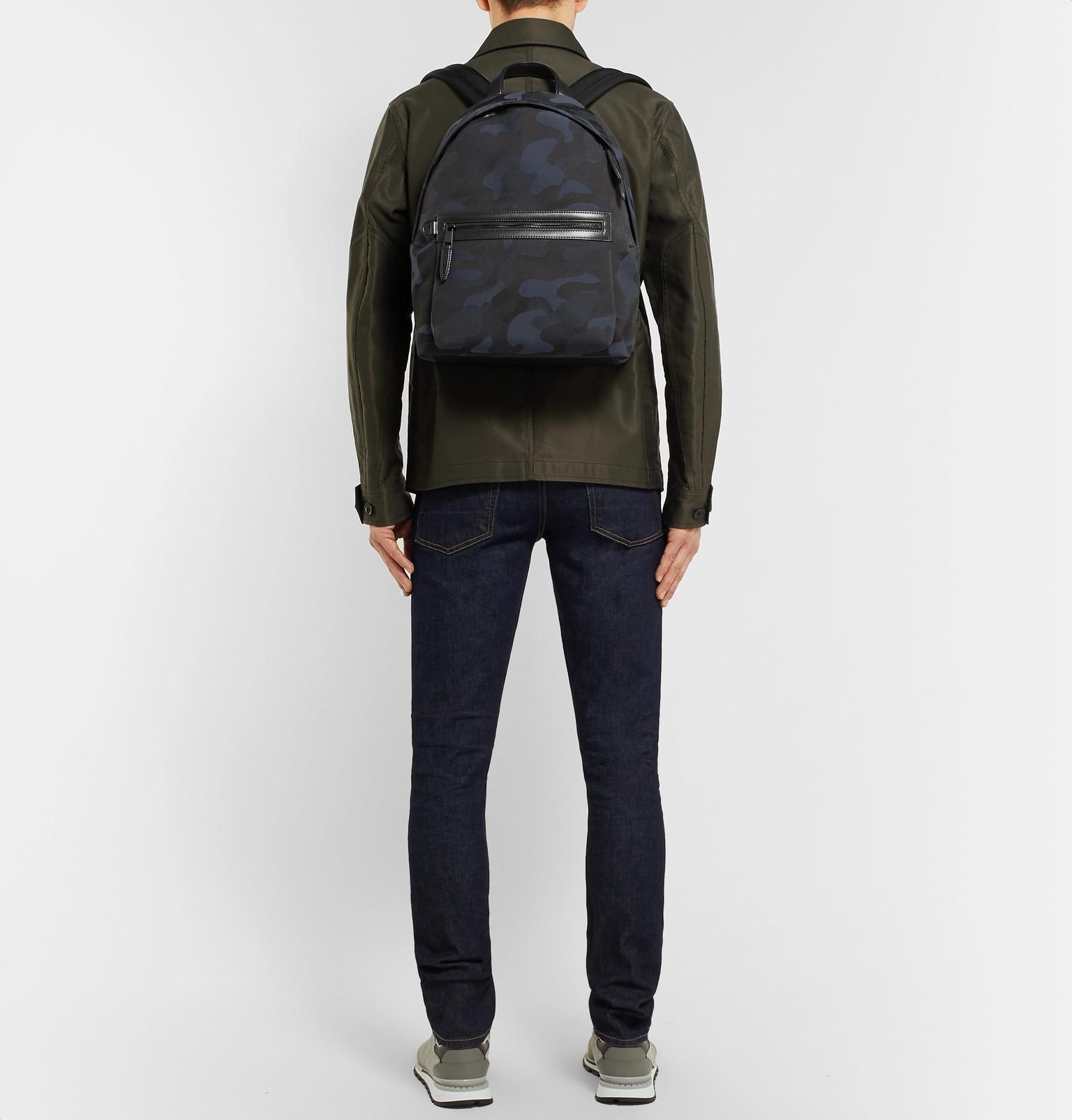 Mulberry - Blue Leather-trimmed Camouflage-print Canvas Backpack for Men -  Lyst. View fullscreen 50a2f32ecc9d1