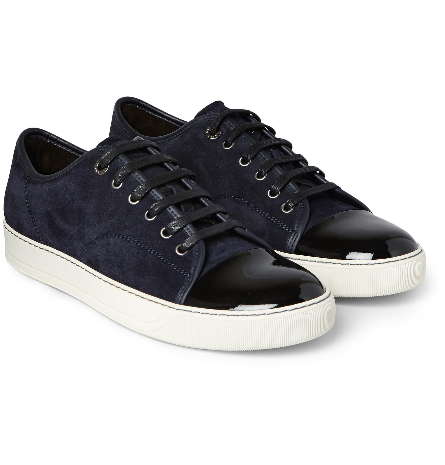 Cap-Toe Suede and Leather Sneakers White 6385568
