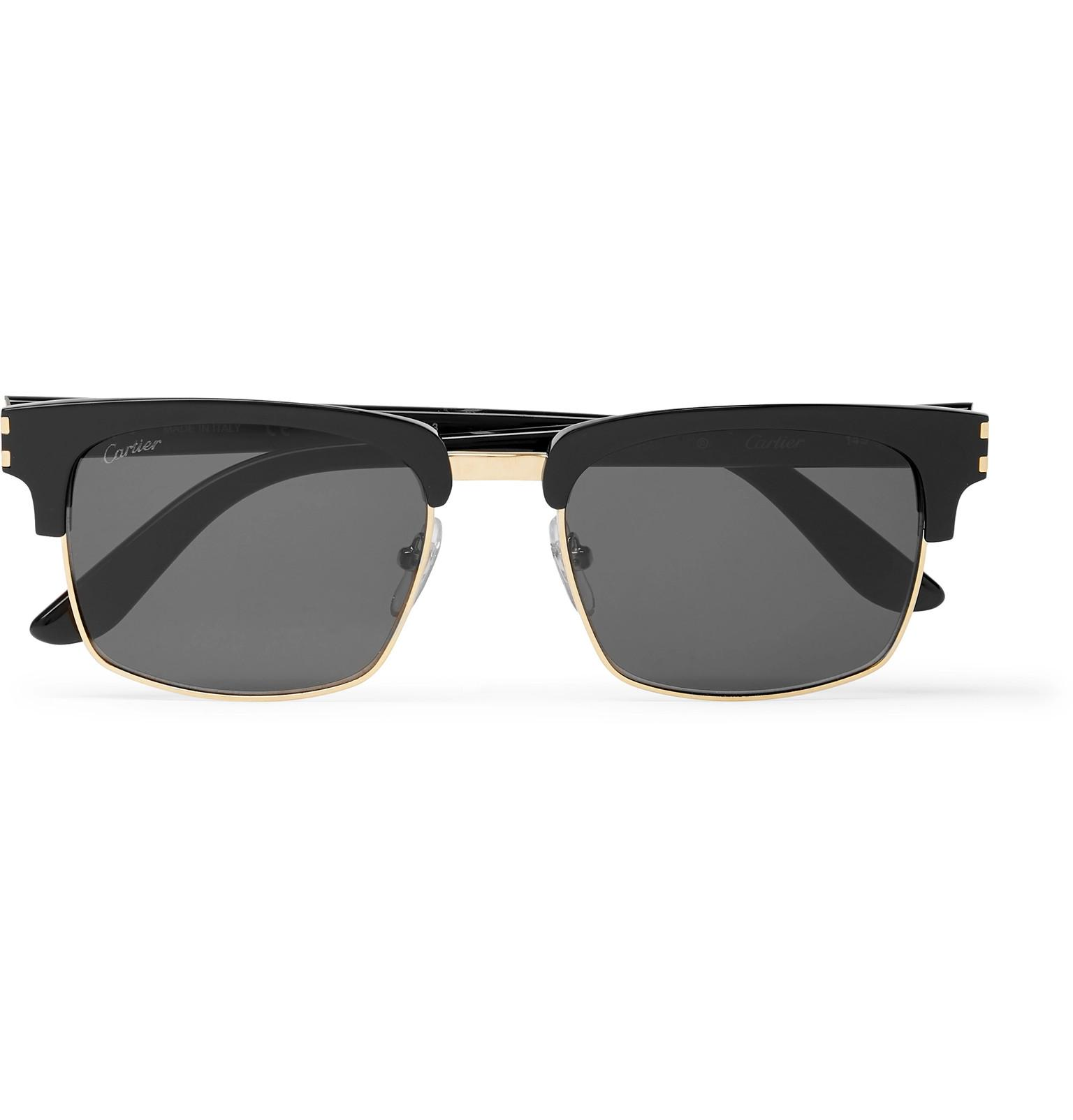 f11d039ee1 Cartier - Black Square-frame Acetate And Gold-tone Sunglasses for Men -  Lyst. View fullscreen