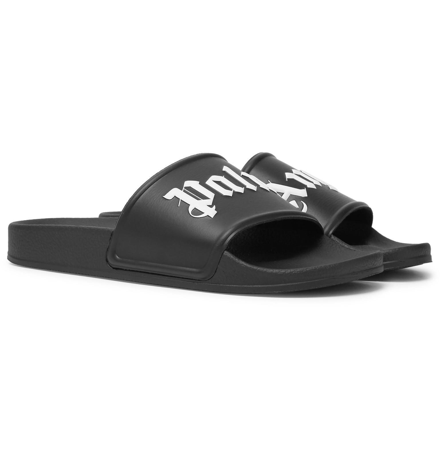9c06bbfa38d2 Palm Angels Logo-print Rubber Slides in Black for Men - Save 5.0% - Lyst