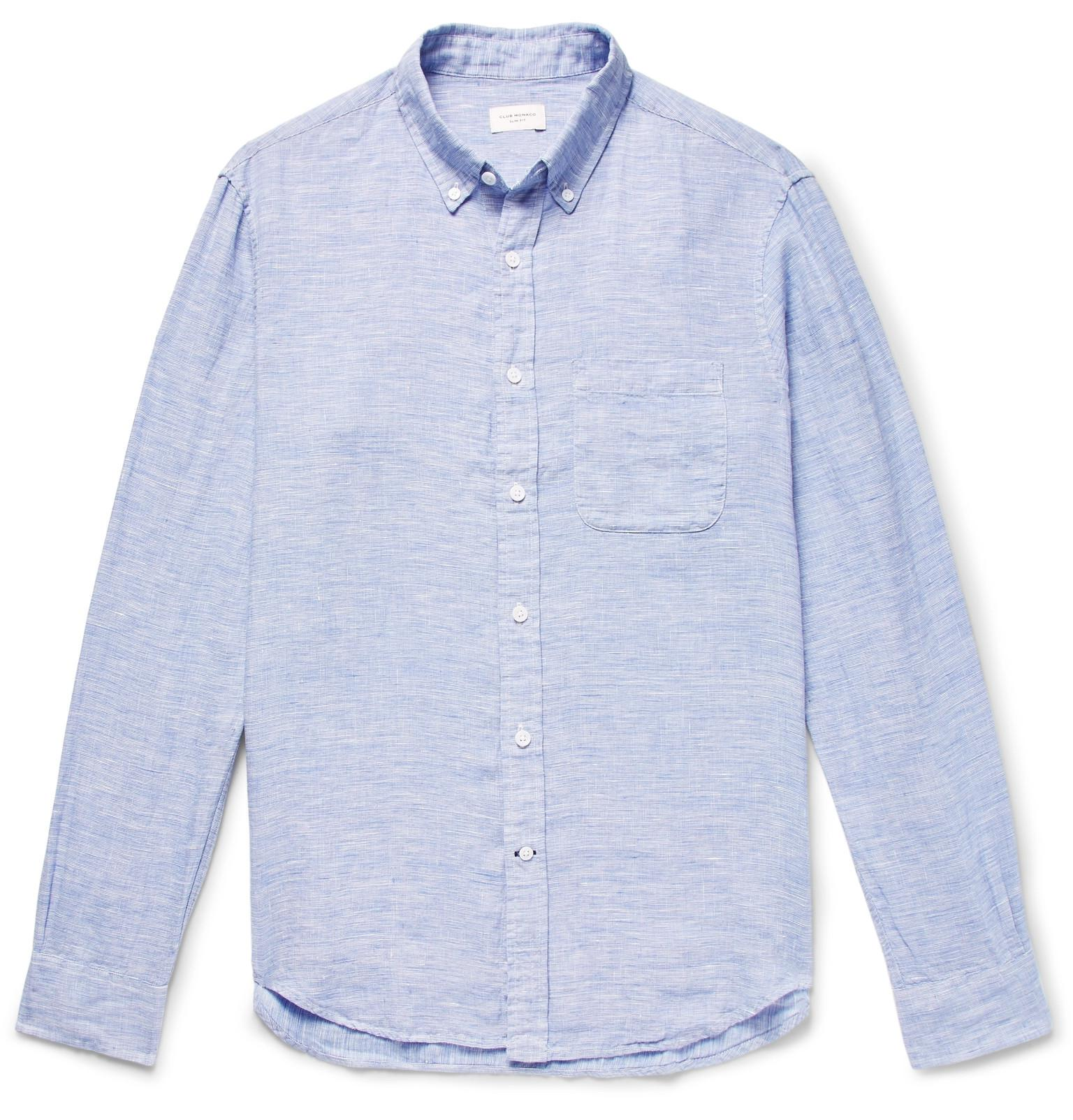 CLUB MONACO Button-down Collar Puppytooth Slub Linen Shirt - Pink IquXYK