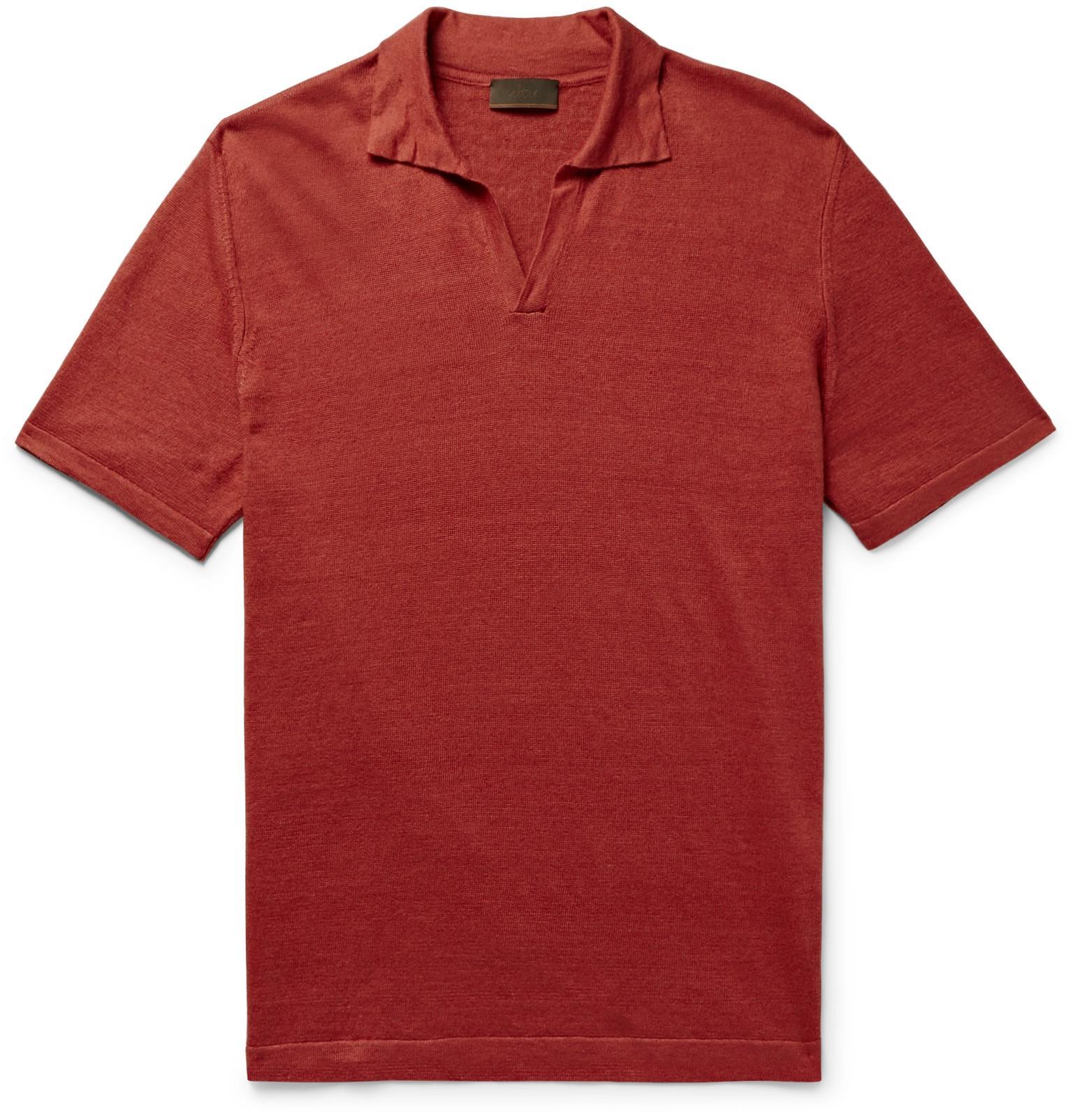 ca8732cdc192d Altea - Red Linen Polo Shirt for Men - Lyst. View fullscreen