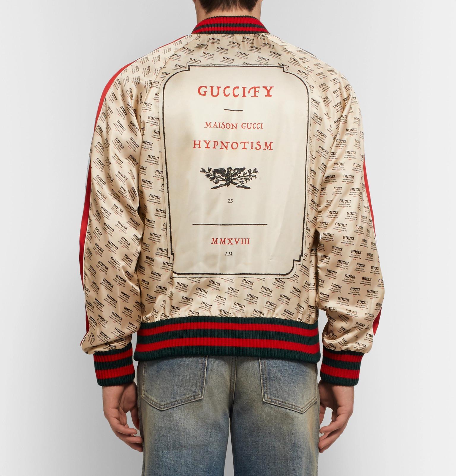 5c8bbcb1c Gucci Logo-print Satin Bomber Jacket in Brown for Men - Lyst