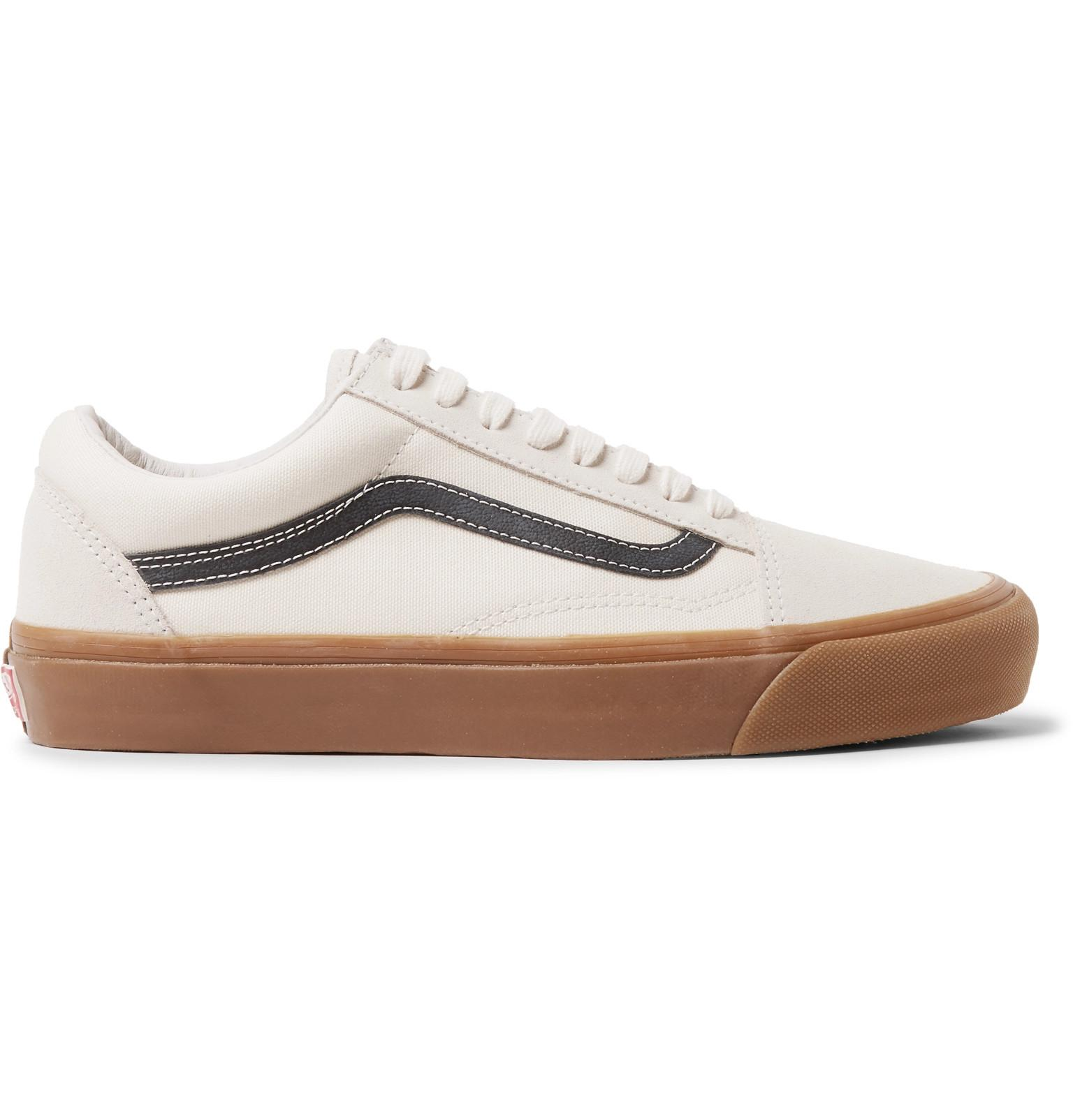 331186e5e9f840 Lyst - Vans Og Old Skool Lx Leather-trimmed Canvas And Suede ...