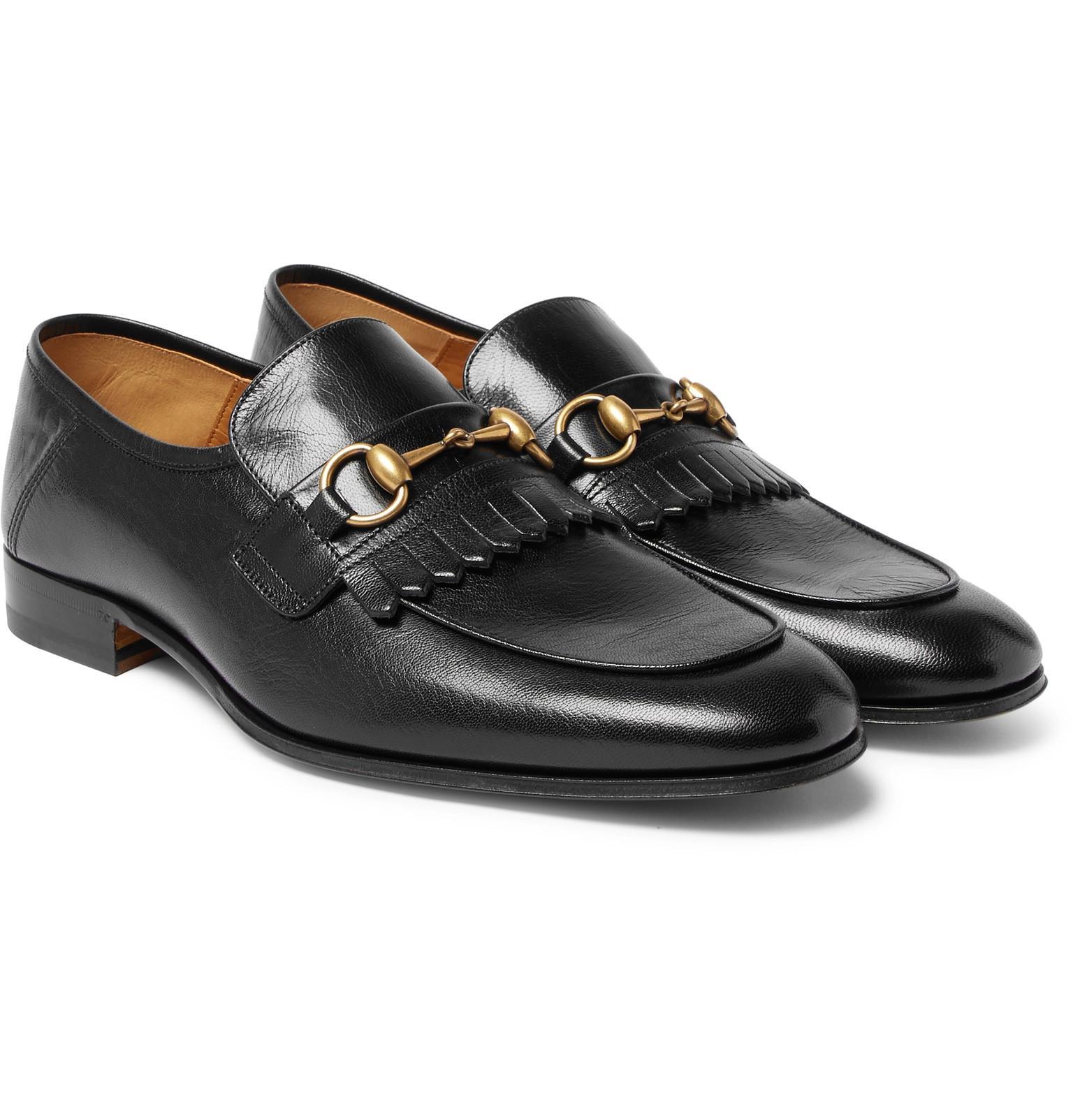 da51e39db10 Gucci Harbor Horsebit Fringed Leather Loafers in Black for Men - Lyst