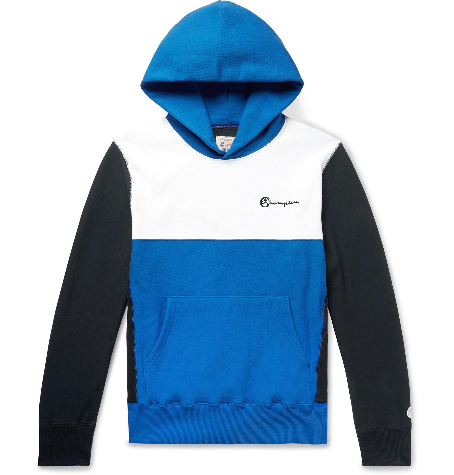 3c2ba09d5db0 Todd Snyder. Men s Blue Logo-embroidered Colour-block Loopback Cotton-jersey  Hoodie