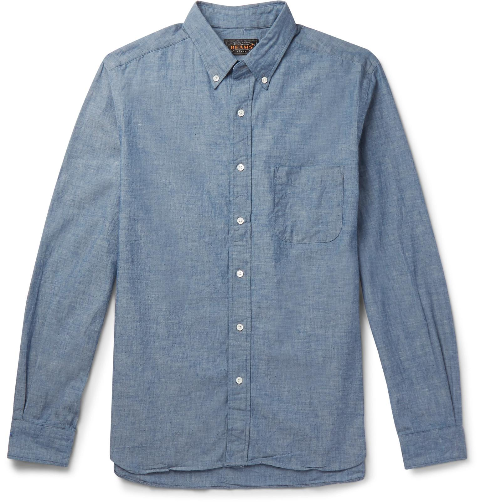 9e5404546ee Beams Plus Button-down Collar Cotton-chambray Shirt in Blue for Men ...
