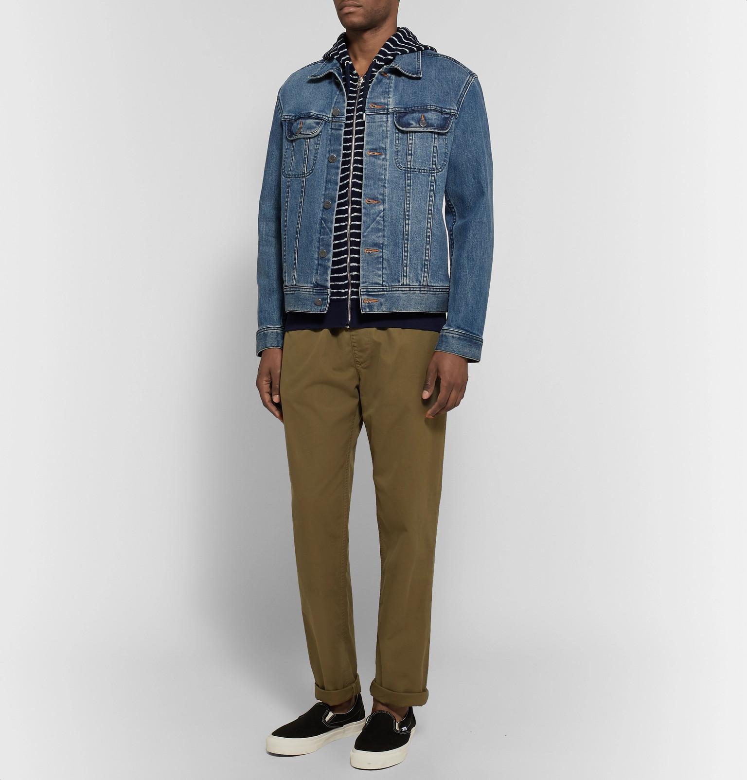 Zip Terry Orlebar Hoodie Up Thurloe For Cotton Striped Blue Fullscreen View Men Brown xqaHqgA