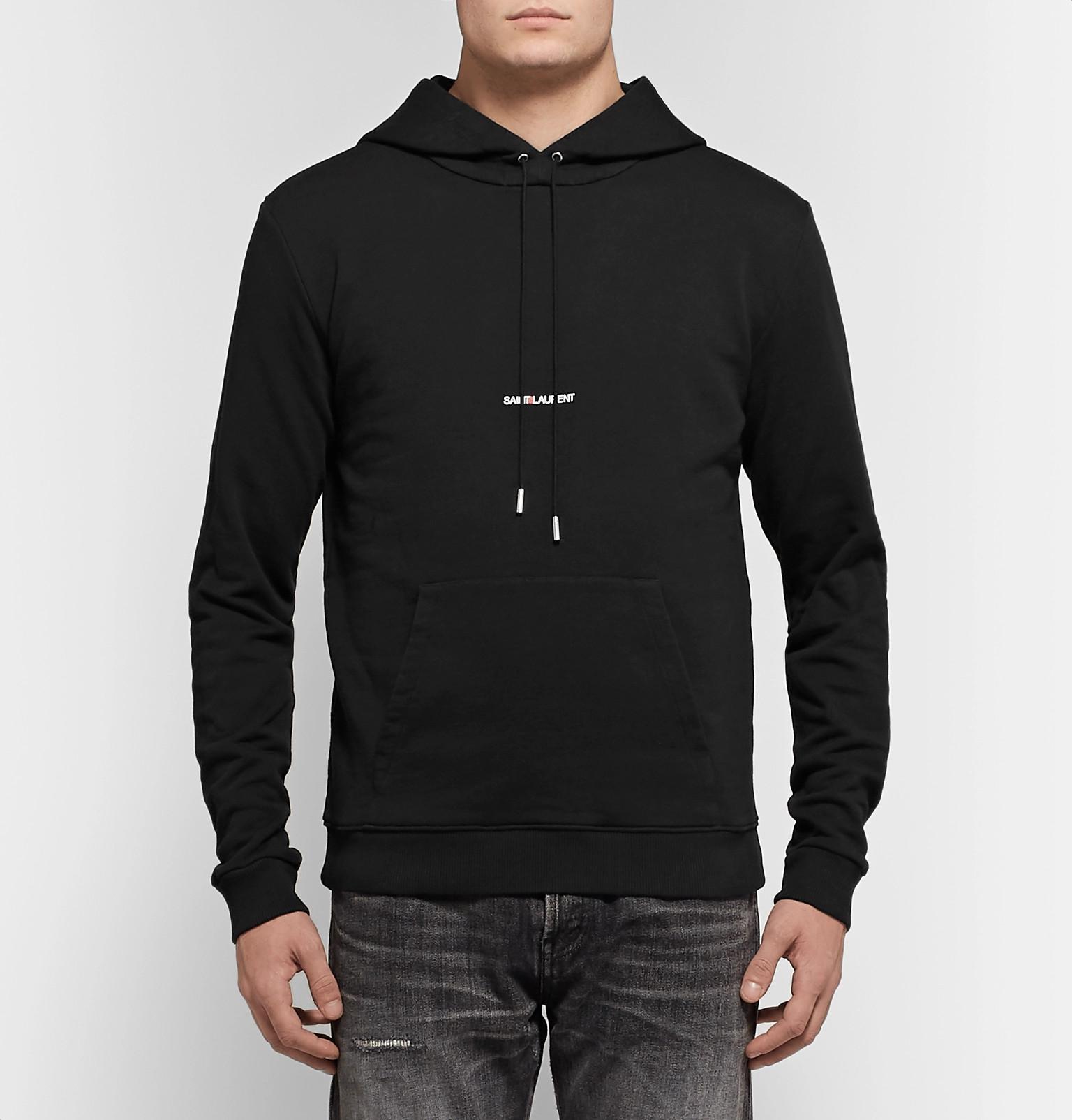 8e004489240 Saint Laurent - Black Logo-print Loopback Cotton-jersey Hoodie for Men -  Lyst. View fullscreen