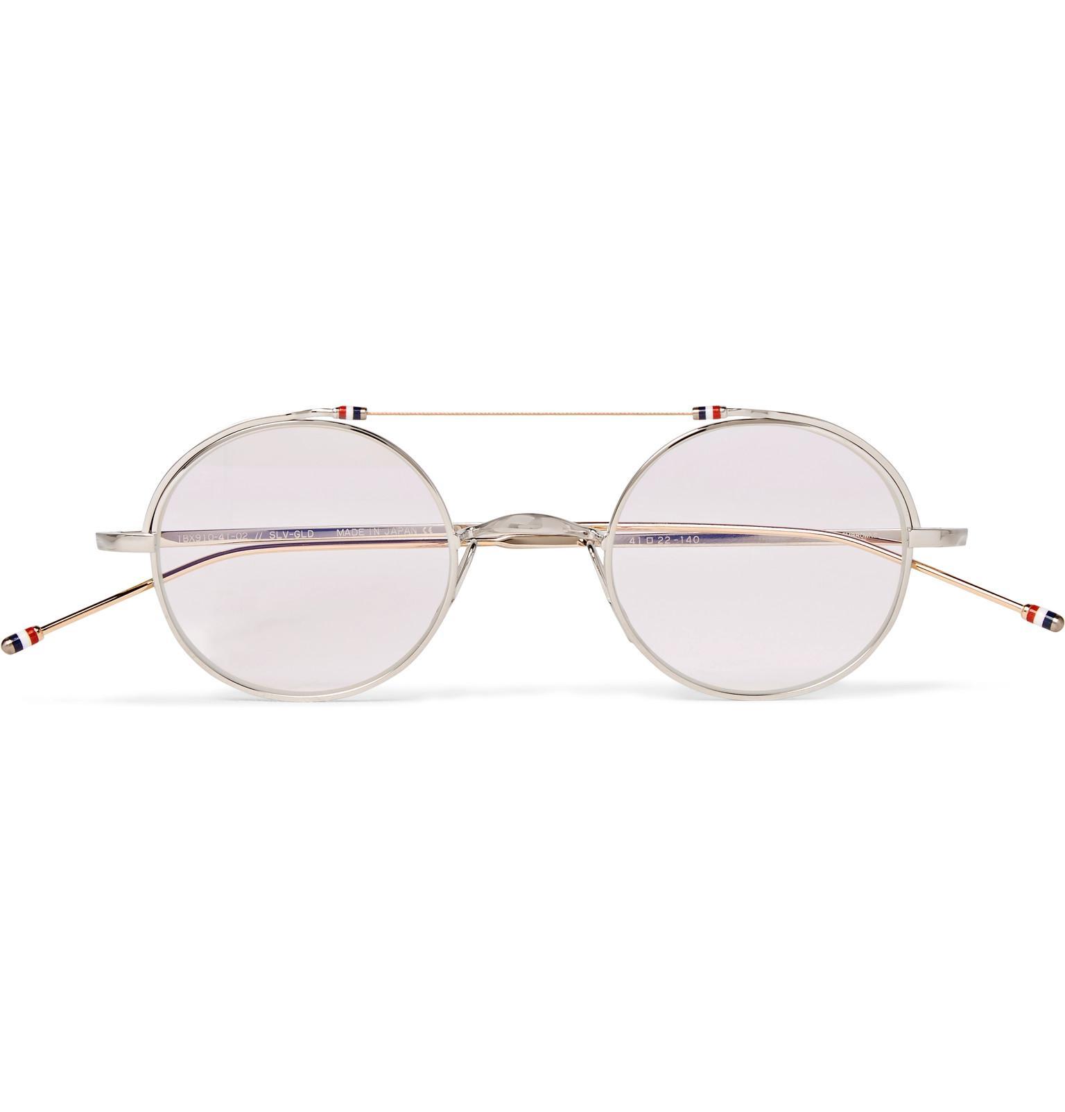 7eeb4ccb9e Thom Browne. Men s Metallic Round-frame Gold And Silver-tone Optical Glasses