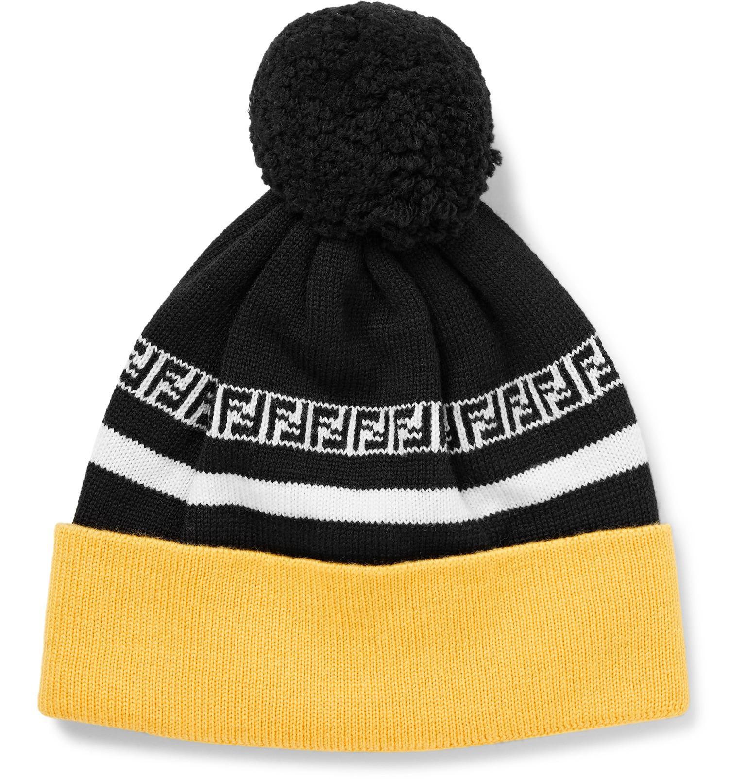 d8daa1f34 Lyst - Fendi Logo-intarsia Ribbed Virgin Wool Beanie in Black for Men