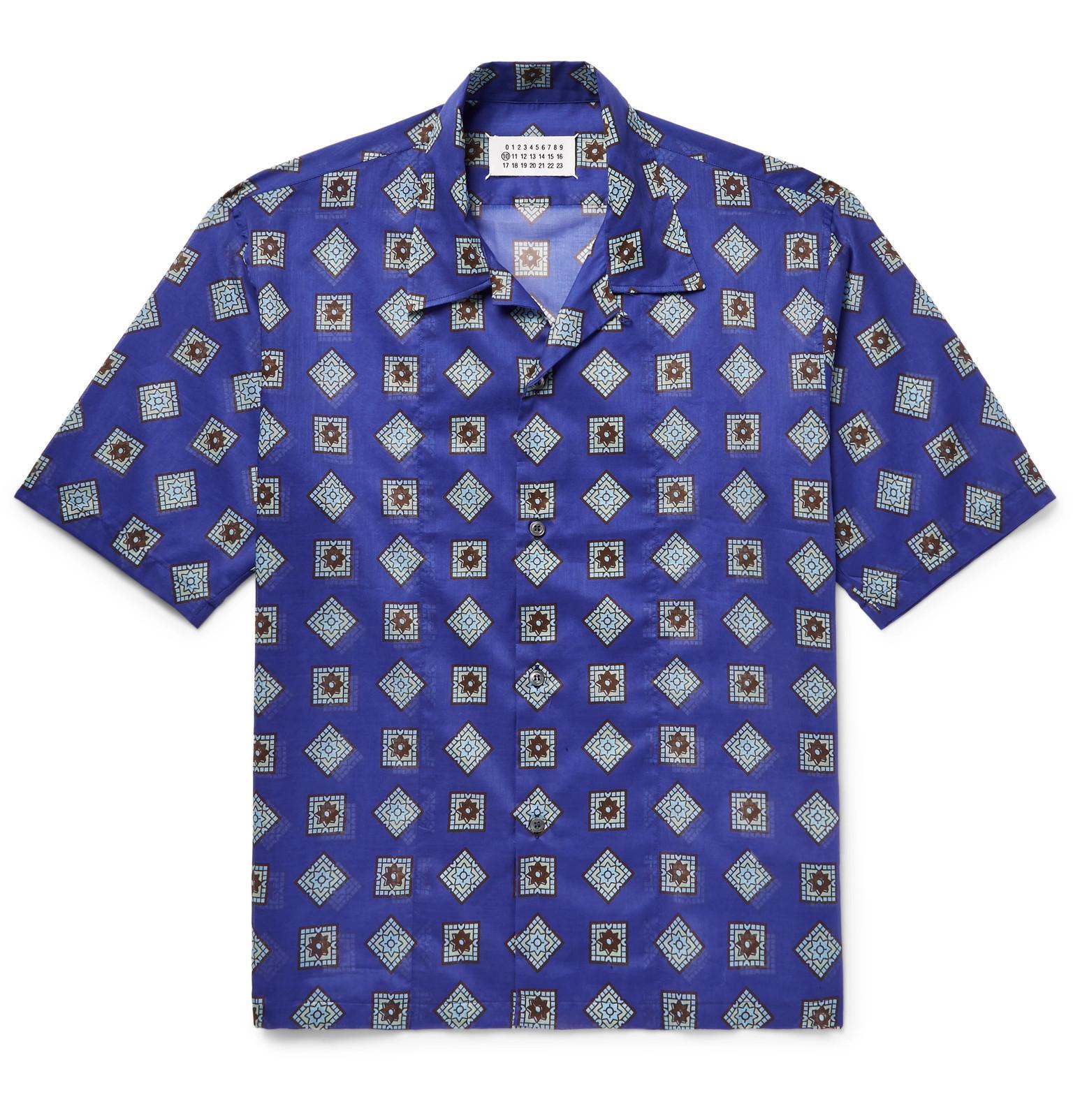 Maison Margiela. Men's Blue Camp-collar Printed Cotton-voile Shirt