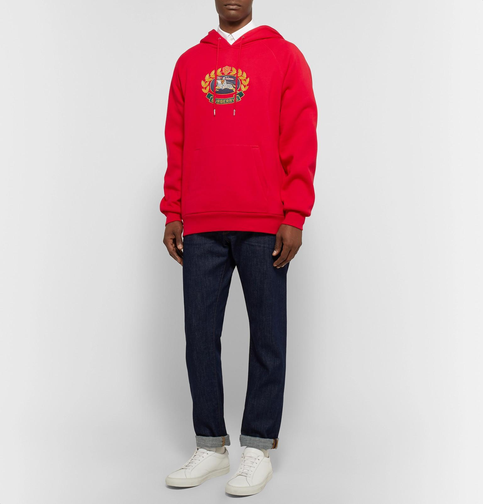 89ad3bde7469 Burberry - Logo-embroidered Fleece-back Cotton-blend Jersey Hoodie for Men  -. View fullscreen