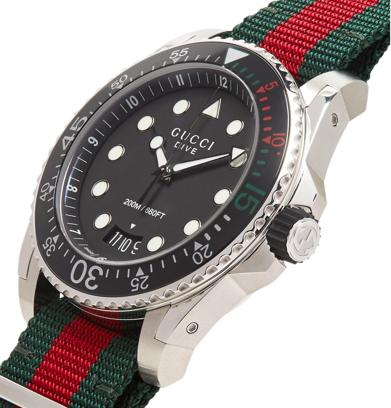 b8faba3cef7 Gucci - Black Dive 45mm Stainless Steel And Webbing Watch for Men - Lyst.  View fullscreen