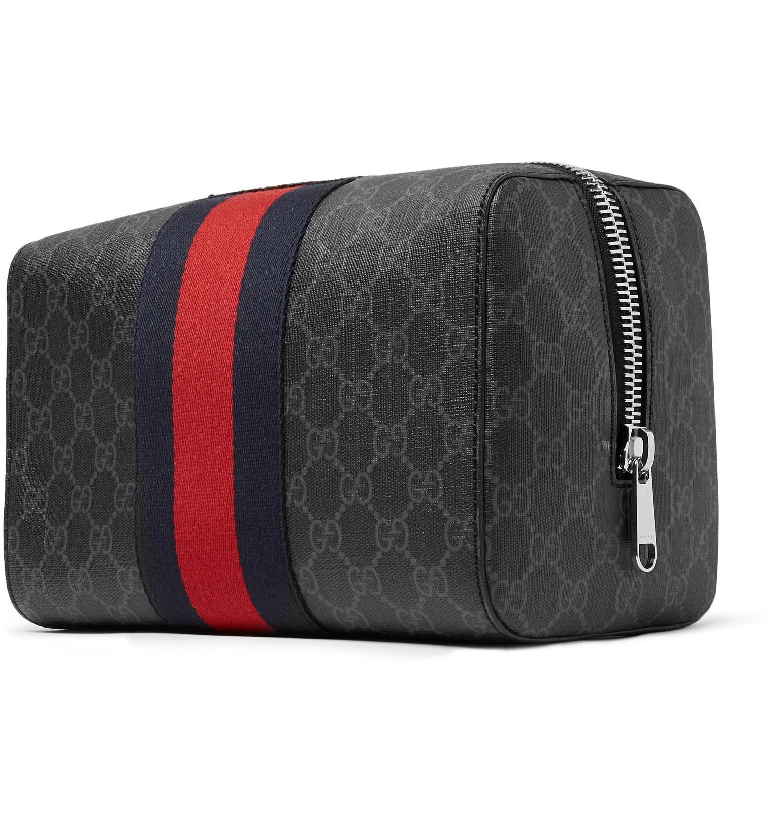 f856c0e062c8 Gucci - Black Monogrammed Coated-canvas Wash Bag for Men - Lyst. View  fullscreen