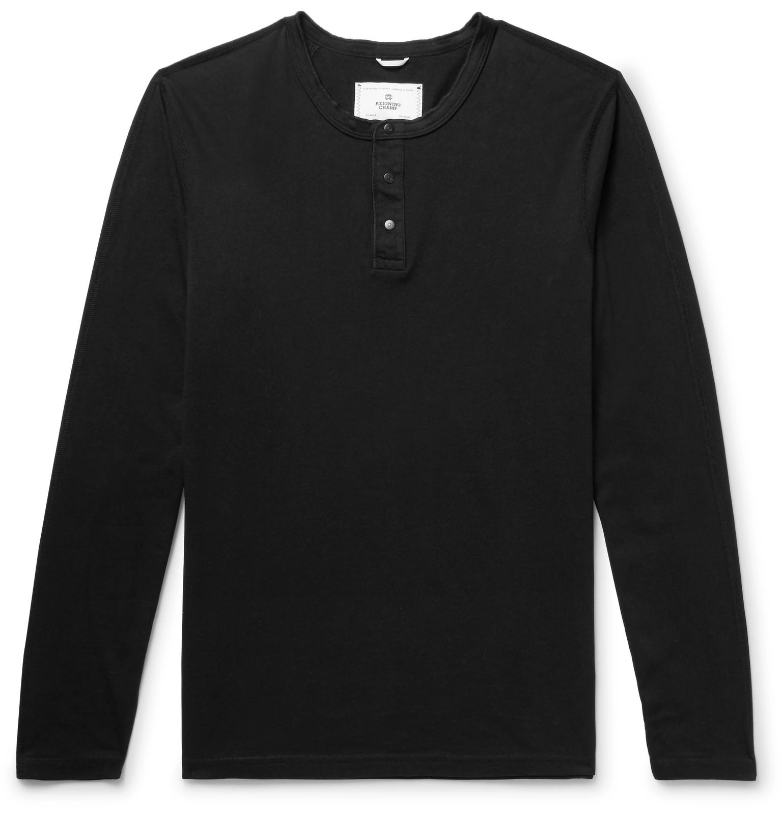 Reigning Champ Ring-spun Cotton-jersey Henley T-shirt - Black 2pm4E