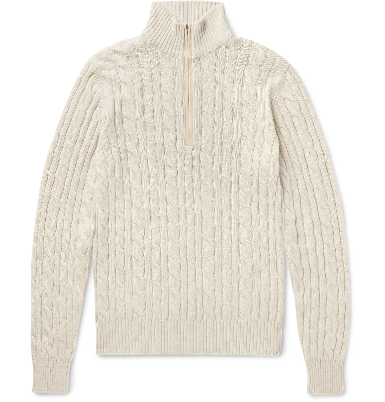 Loro piana Suede-trimmed Cable-knit Baby Cashmere Half-zip Sweater ...