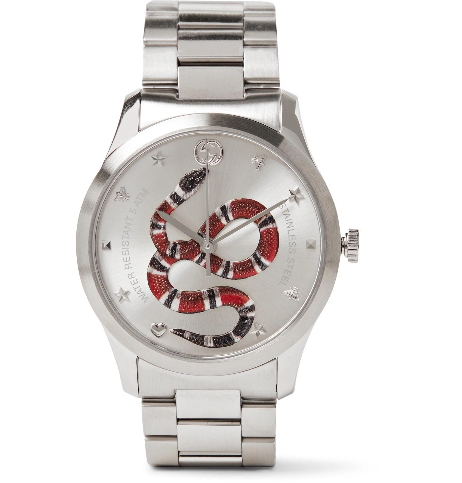 a84642d37be Gucci G-timeless Snake-dial 38mm Stainless Steel Watch in Metallic ...