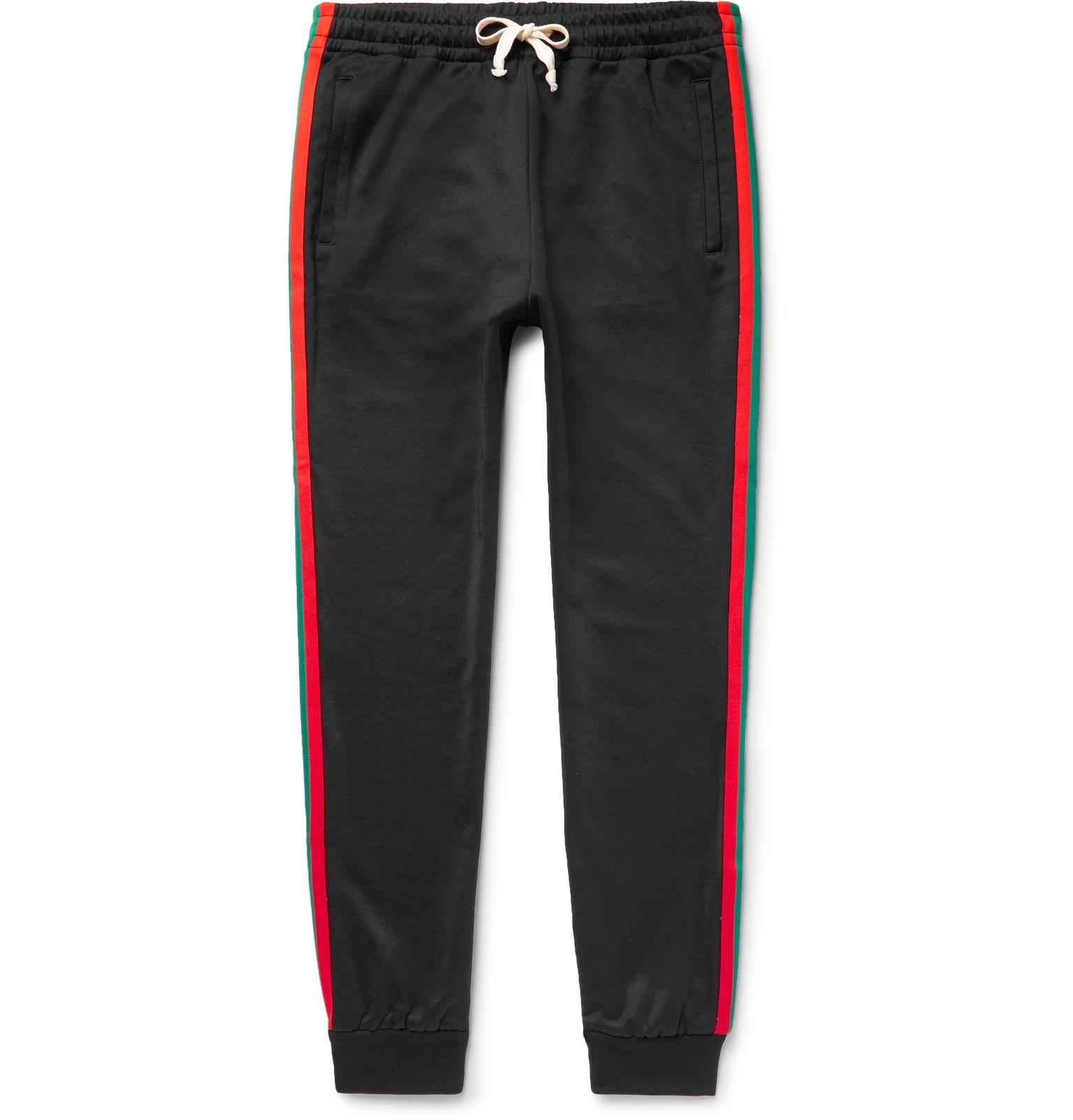 8b118097364 Gucci Tapered Webbing-trimmed Tech-jersey Sweatpants in Black for ...