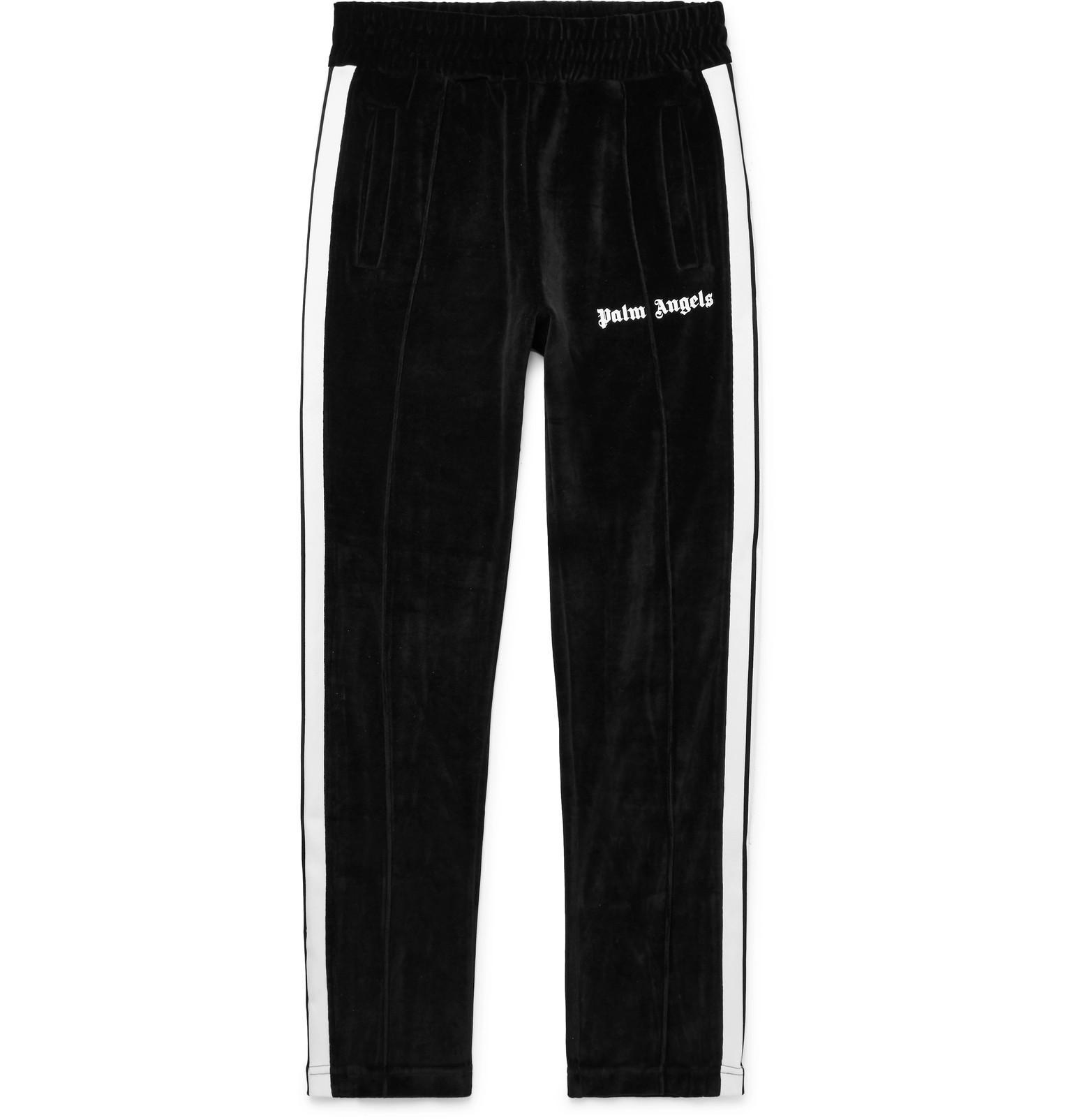 11fb772a1368 Lyst - Palm Angels Slim-fit Logo-print Webbing-trimmed Cotton-blend ...