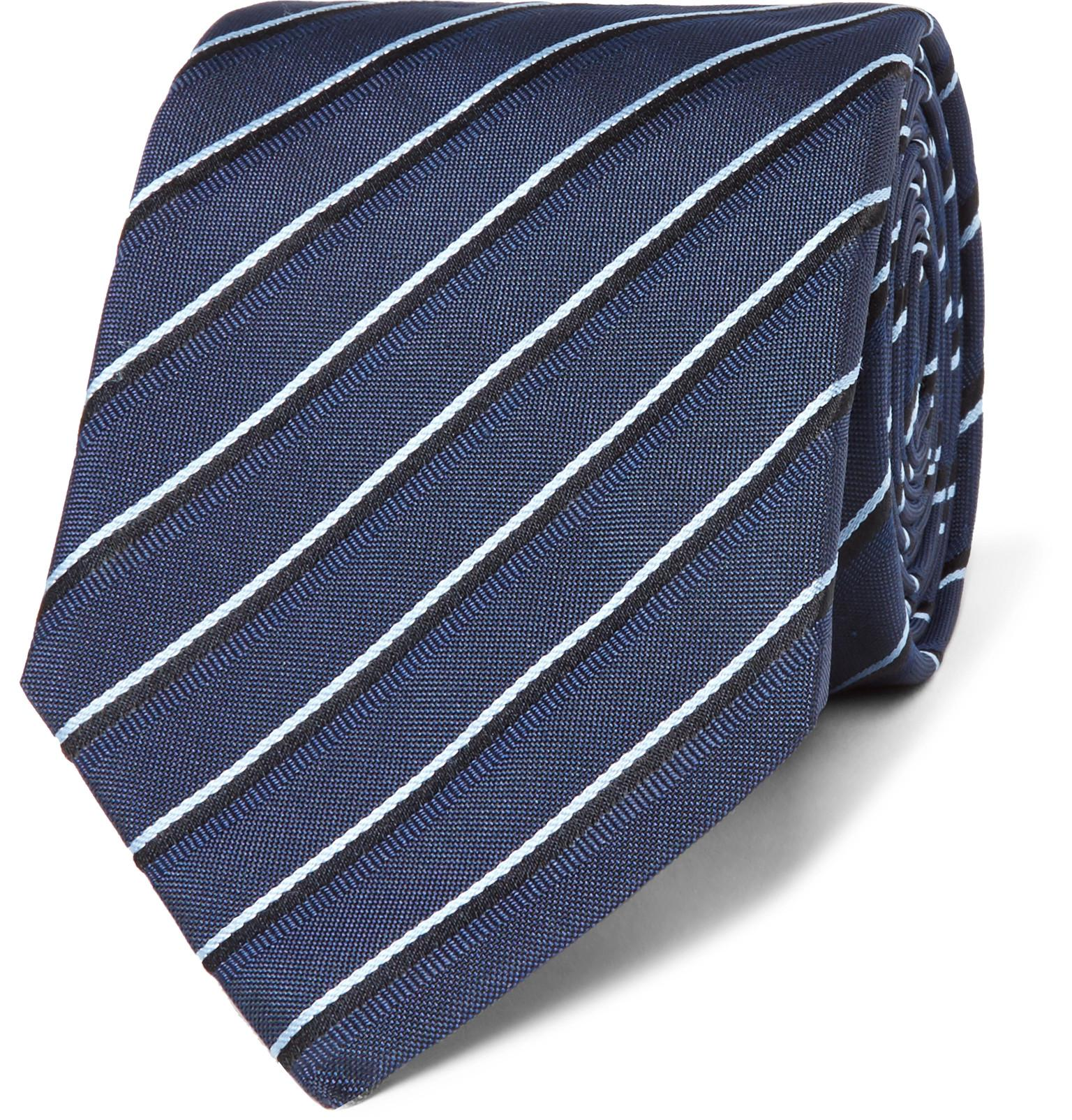 052ec1f02f ... greece boss 7.5cm striped silk jacquard tie in blue for men lyst f33ec  b6555 ...