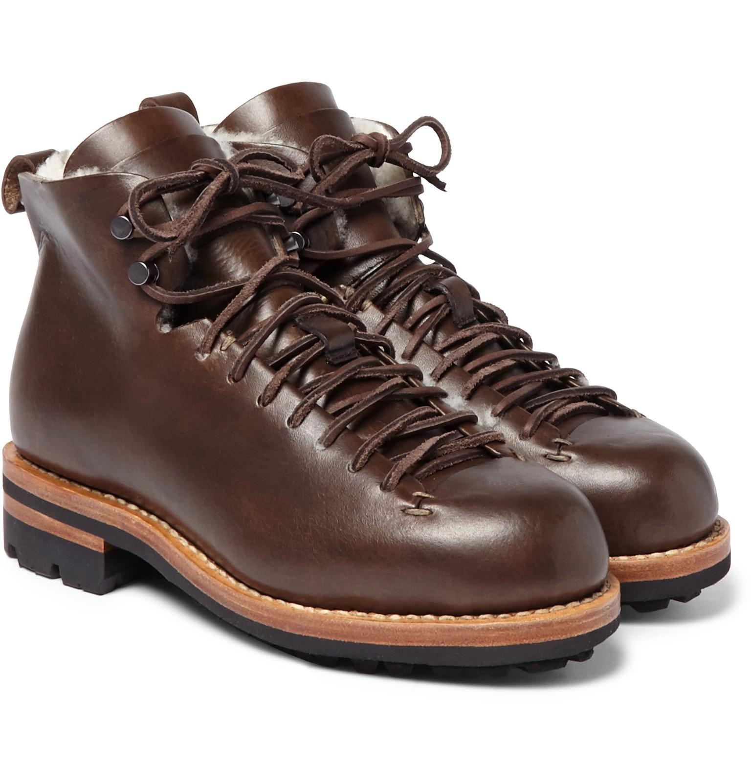 3445de7cd73 Feit - Brown Hiker Shearling-trimmed Leather Boots for Men - Lyst