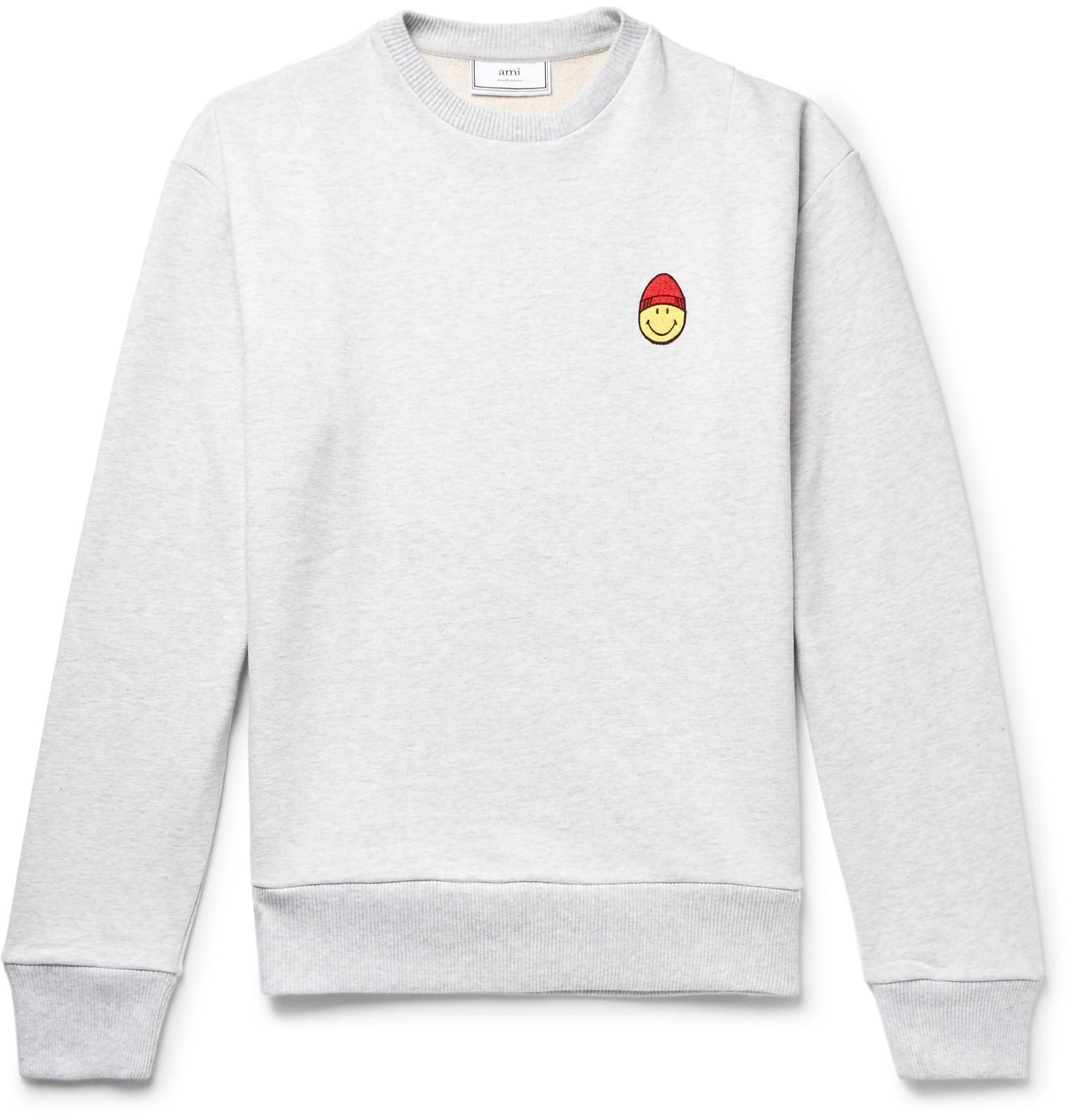 Ami Appliquéd Loopback Cotton-jersey Sweatshirt - Gray Y671JlKsjM