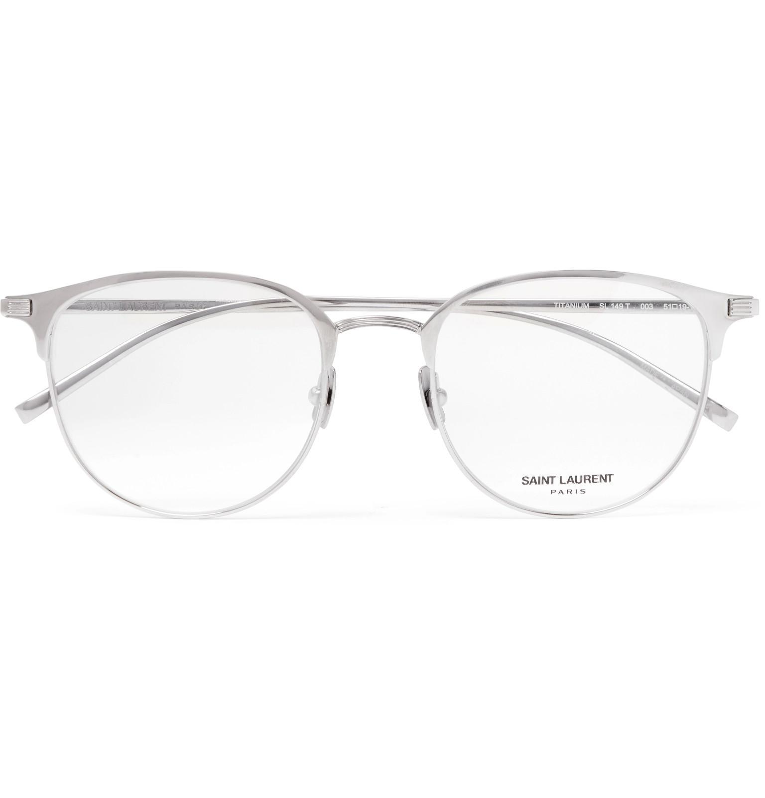 e8aecc3a95 Lyst - Saint Laurent Round-frame Titanium Optical Glasses in ...