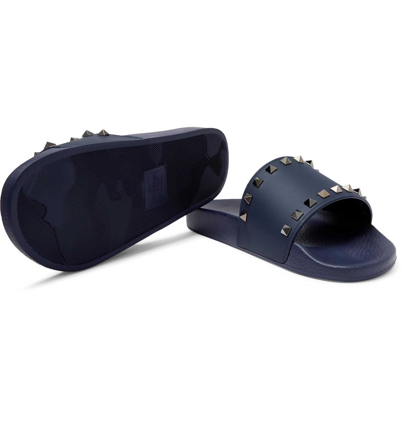 90d95945caa Valentino - Blue Garavani Rockstud Rubber Slides for Men - Lyst. View  fullscreen