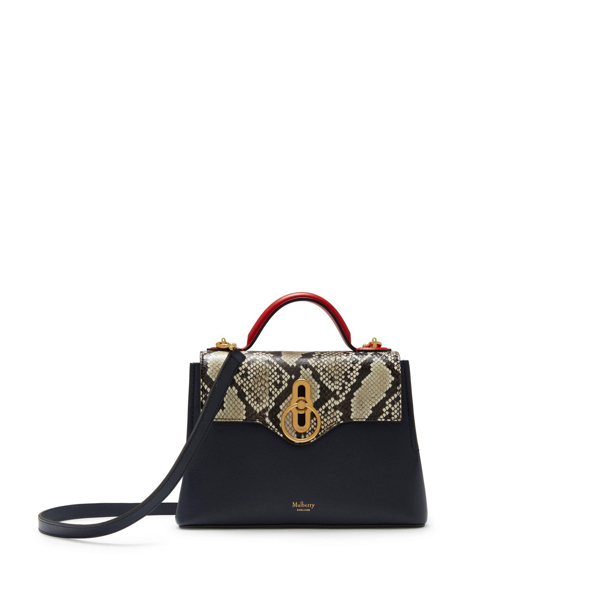 68a1f47cb634 Lyst - Mulberry Mini Seaton In Midnight And Hibiscus Red Silky Calf ...