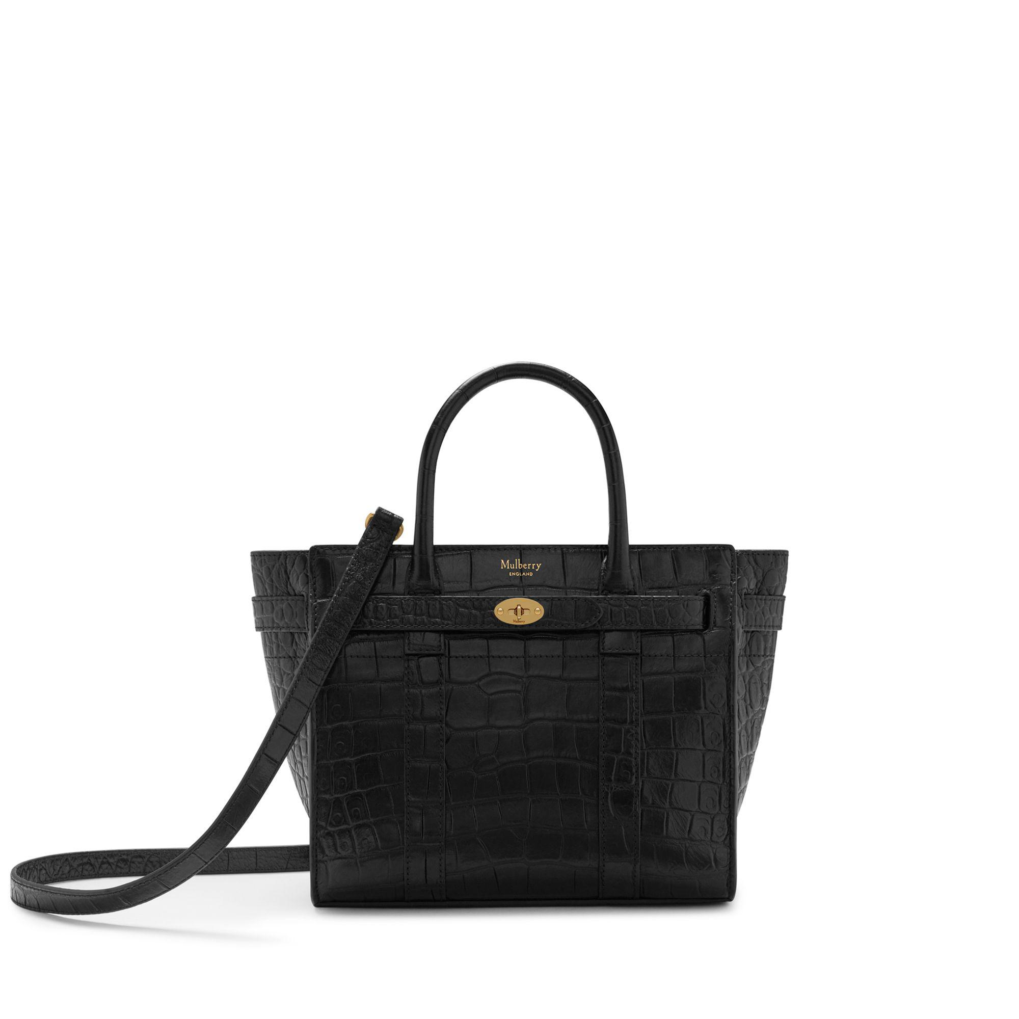 Mulberry - Mini Zipped Bayswater In Black Croc-embossed Nappa - Lyst. View  fullscreen 6004415fab203