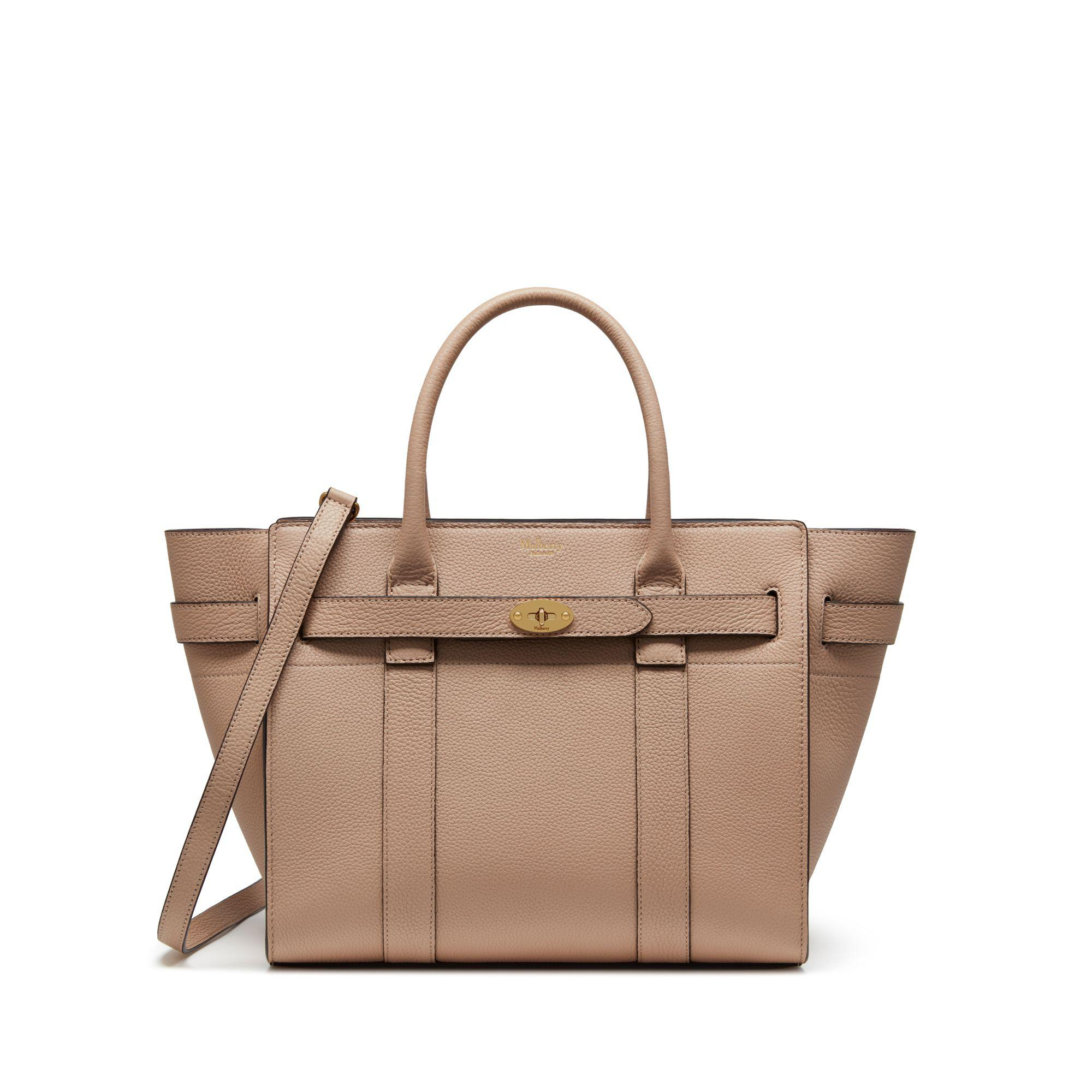e06bb013cf17 Mulberry Small Zipped Bayswater In Rosewater Small Classic Grain in ...