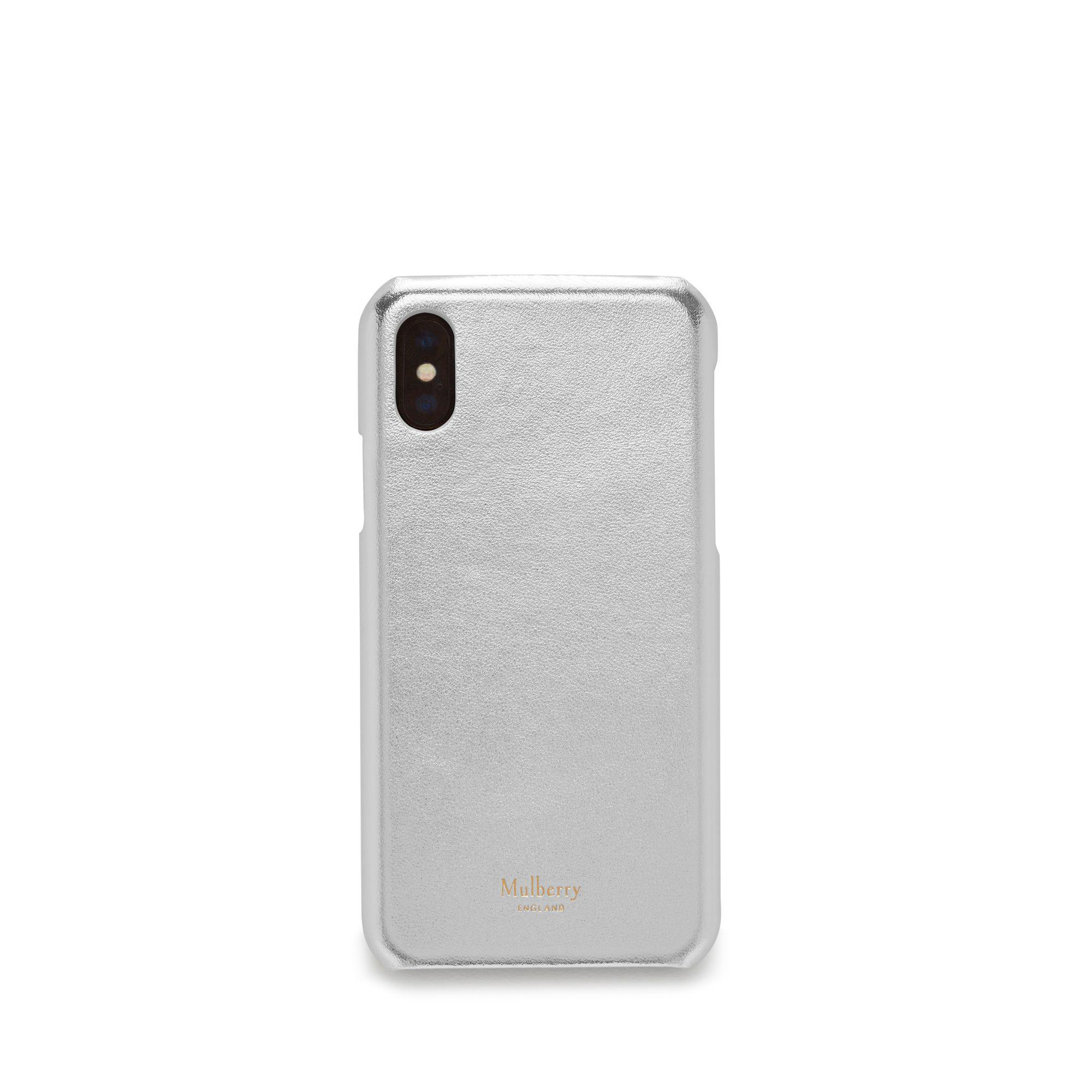 c1892a4aaa5b Mulberry Iphone X xs Cover In Light Silver Metallic Nappa in ...