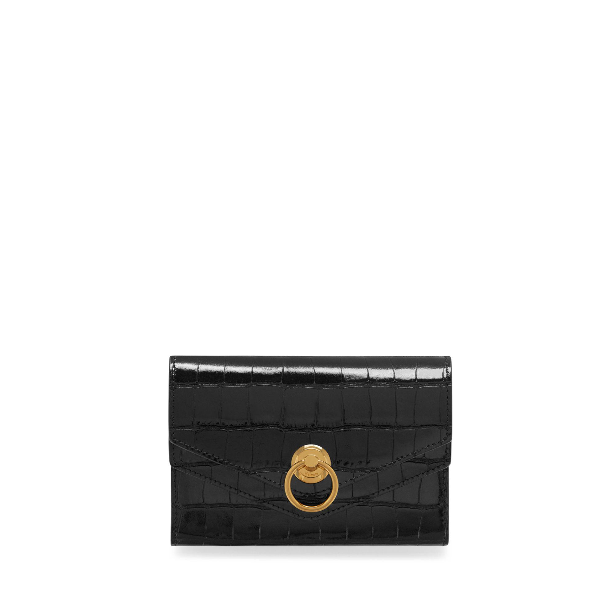 9df6a0a98f Mulberry Harlow Medium Wallet In Black Croc Print in Black - Lyst