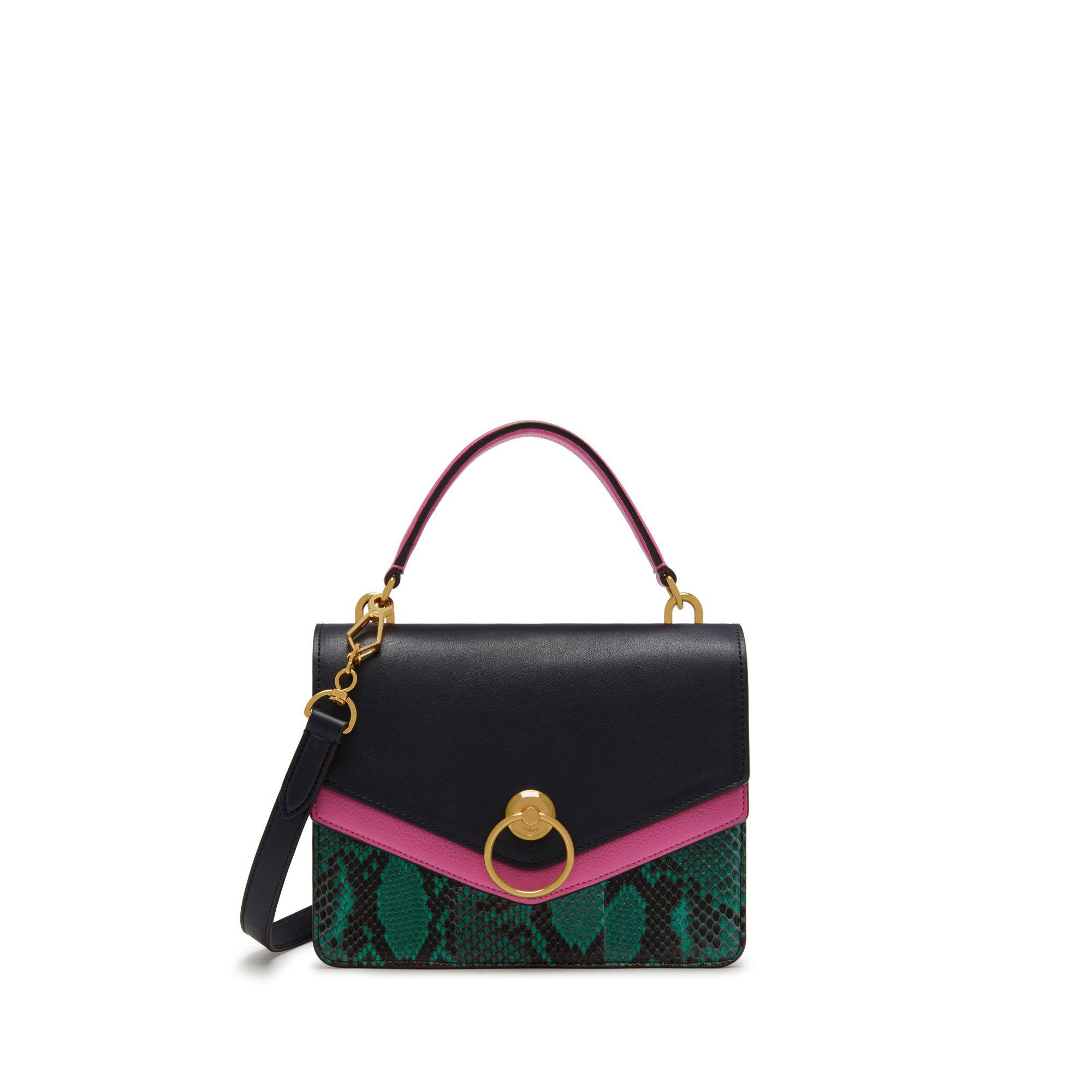 4ba27386e5 Mulberry Harlow Satchel In Viridian Green, Raspberry Pink And ...
