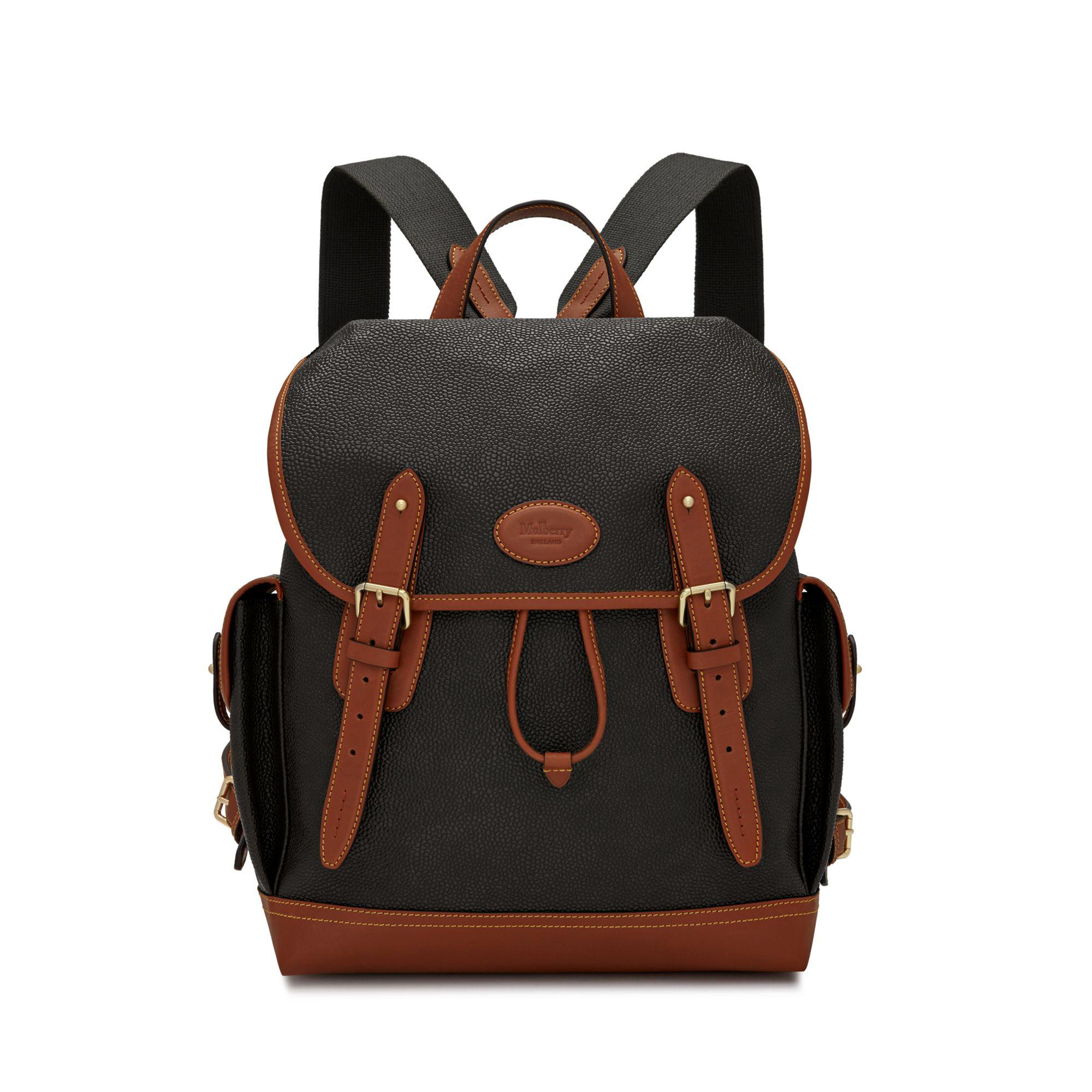 76d27809ed Mulberry Heritage Backpack In Black And Cognac Scotchgrain in Black ...