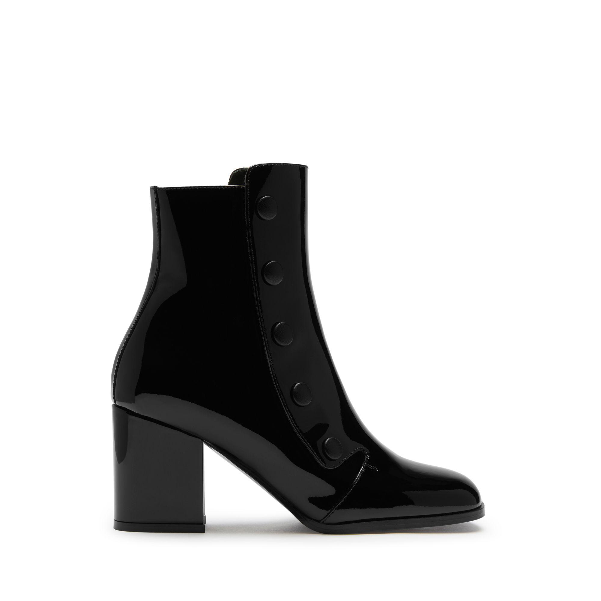 06958a1a7880 Lyst - Mulberry Marylebone Mid Heel Bootie In Black Patent in Black